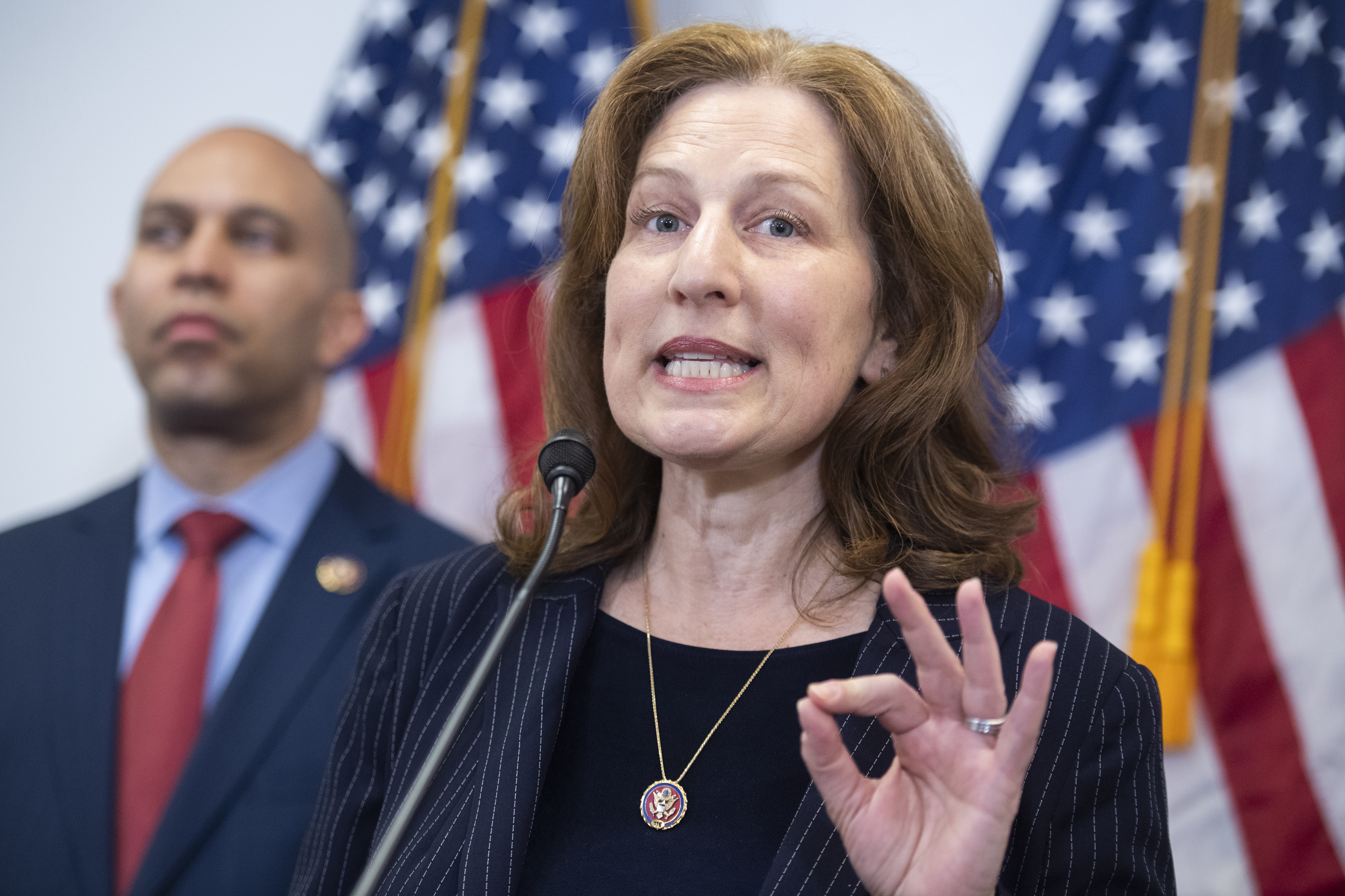 Kim Schrier during a news conference on March 3.