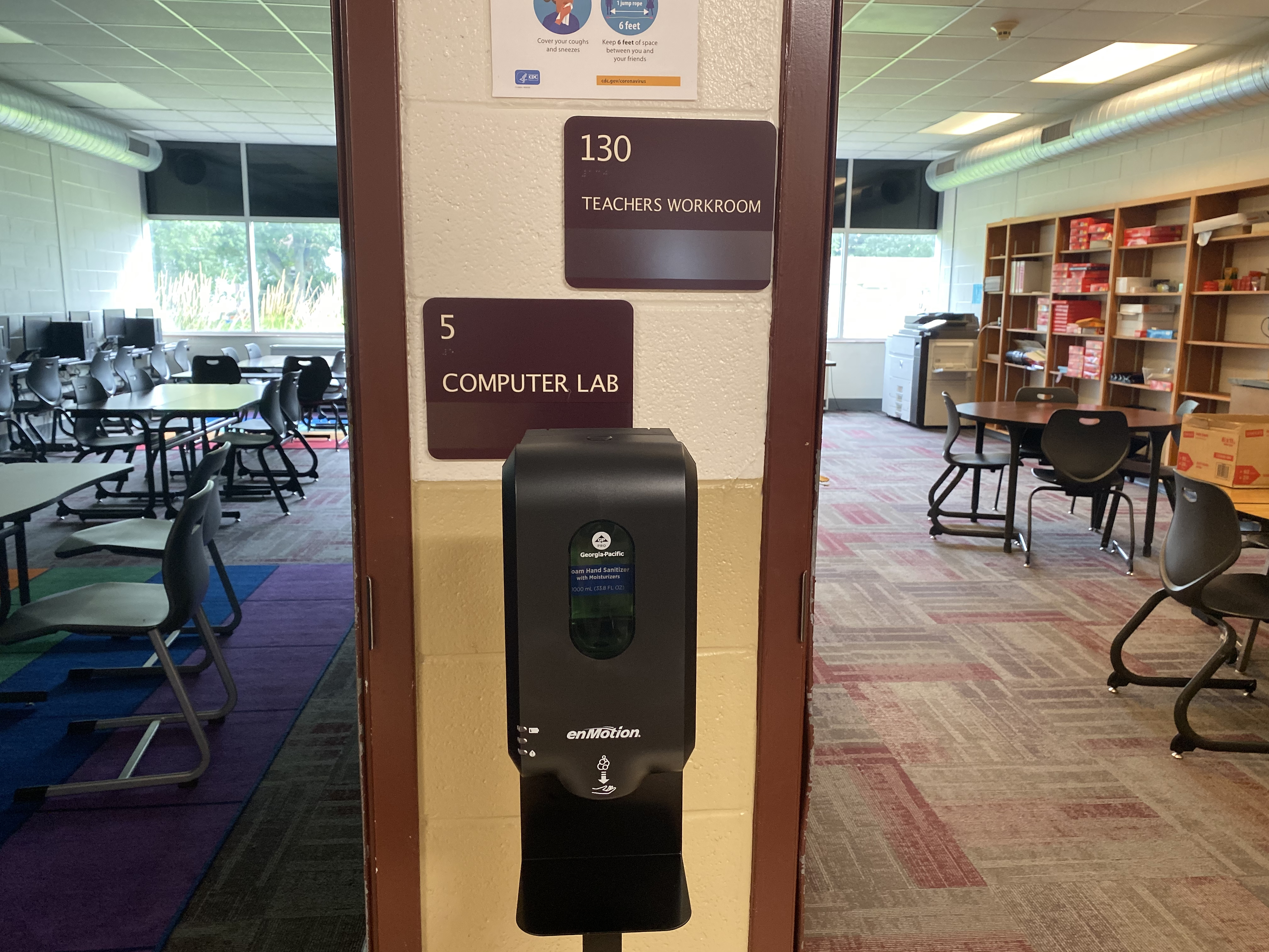 Hand sanitizer dispensers were installed throughout Tindley Summit Academy in Indianapolis.