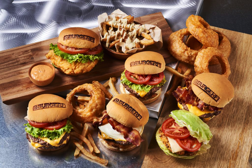 A table filled with the hormone- and antibiotic-free Angus burgers coming to Henderson from BurgerFi.