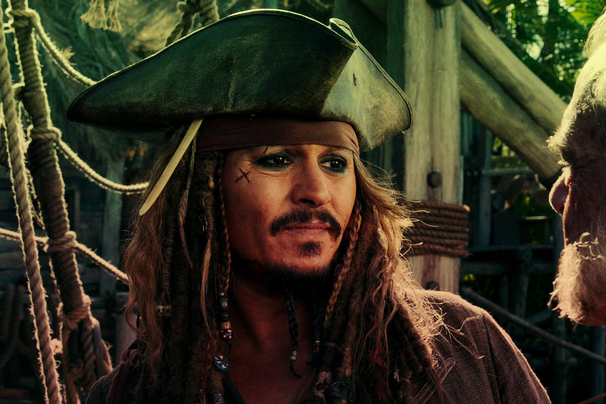 Photo of Johnny Depp from the film Pirates of the Caribbean.