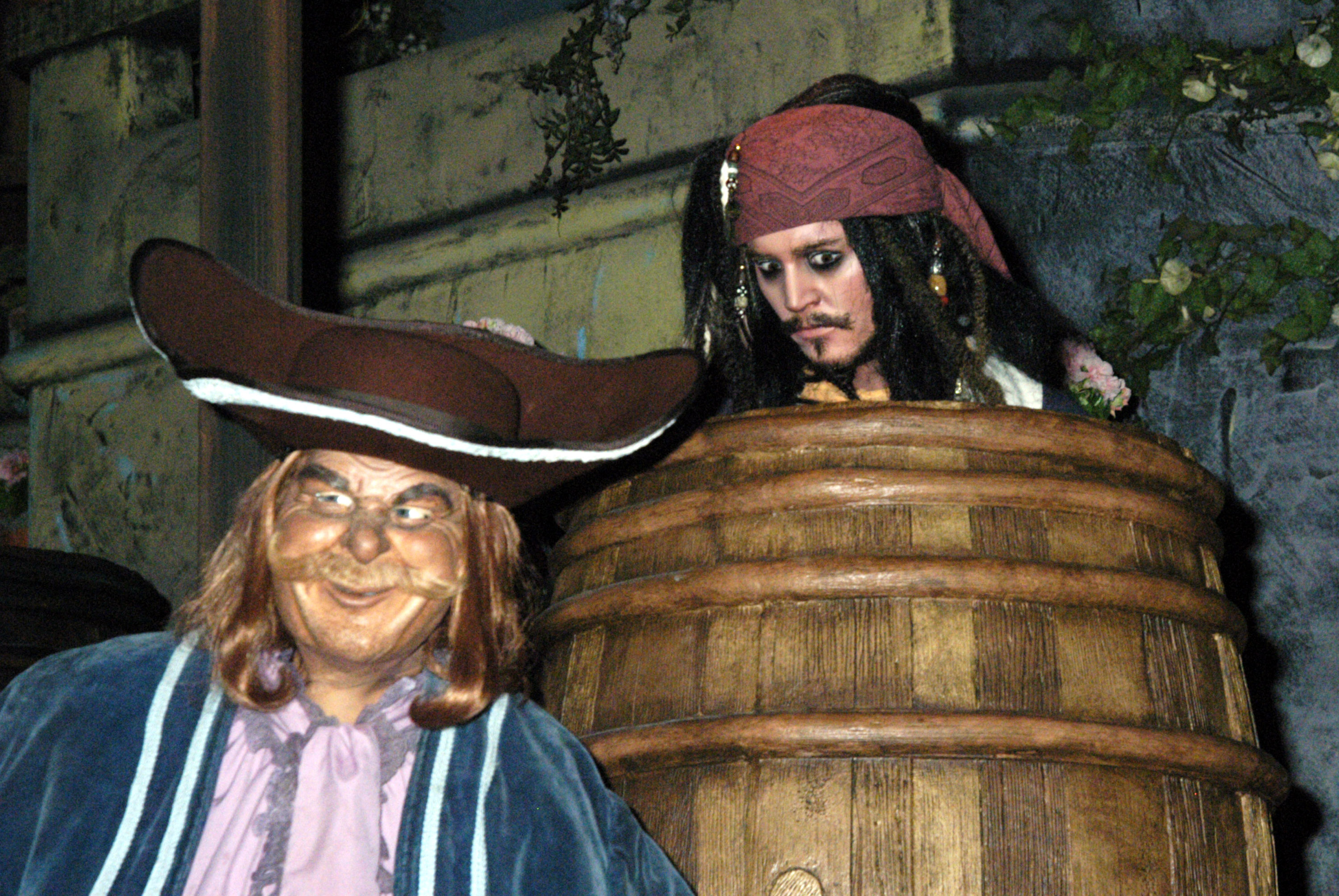 jack sparrow in the pirates of the caribbean ride