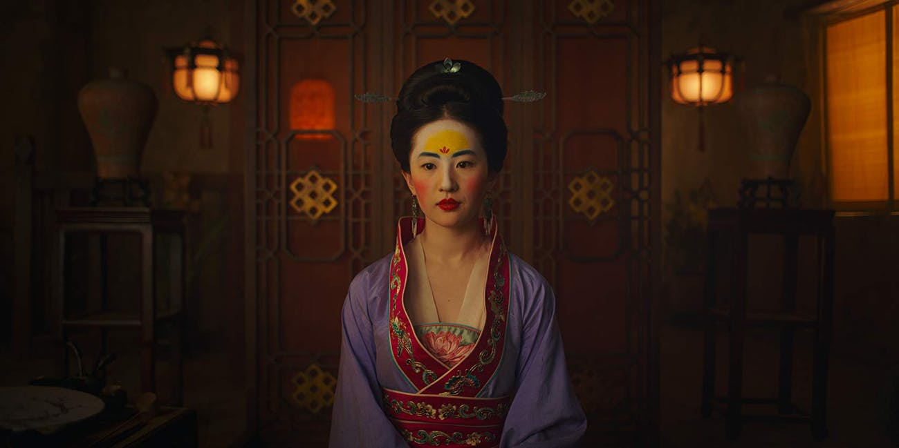 Liu Yifei in traditional Chinese dress in Disney's 2020 Mulan.