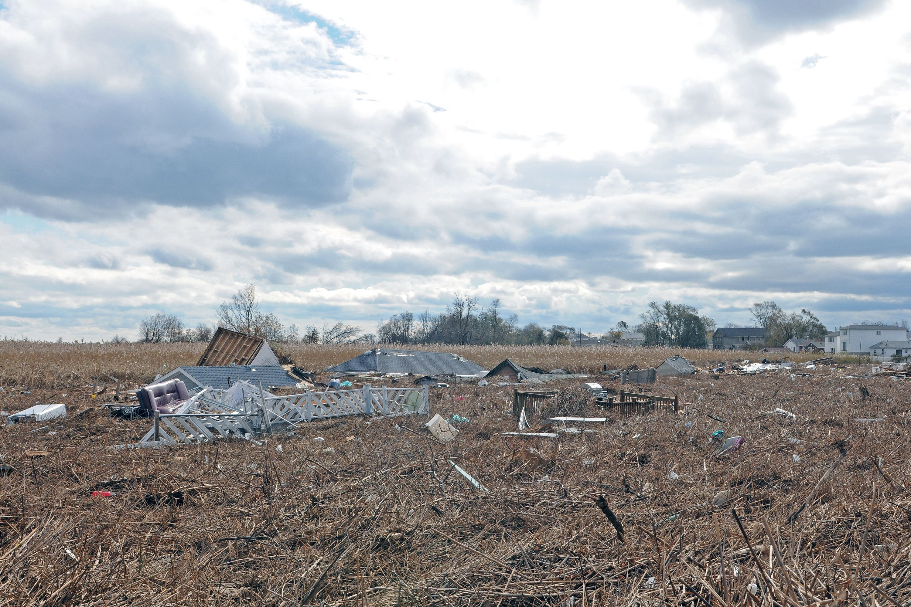 Homes were washed into a marsh near Fox Beach Avenue on Staten Island after Superstorm Sandy, Oct. 31, 2012.