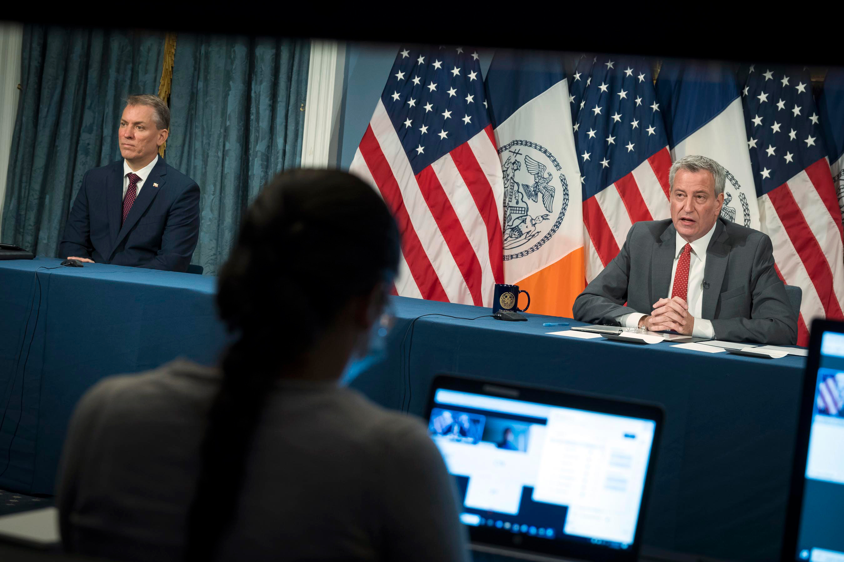 Mayor Bill de Blasio holds a press conference with NYPD Commissioner Dermot Shea, July 17, 2020.