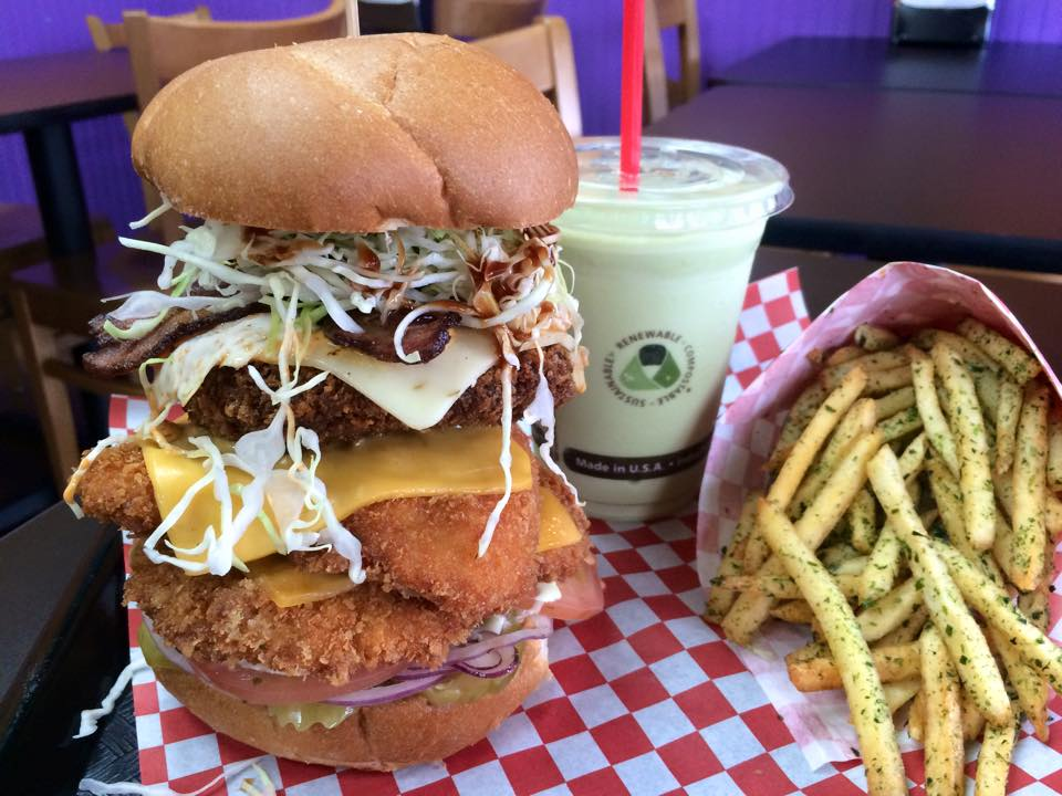 A loaded Mt. Fuji special at Katsu Burger, with a side of nori fries and milkshake