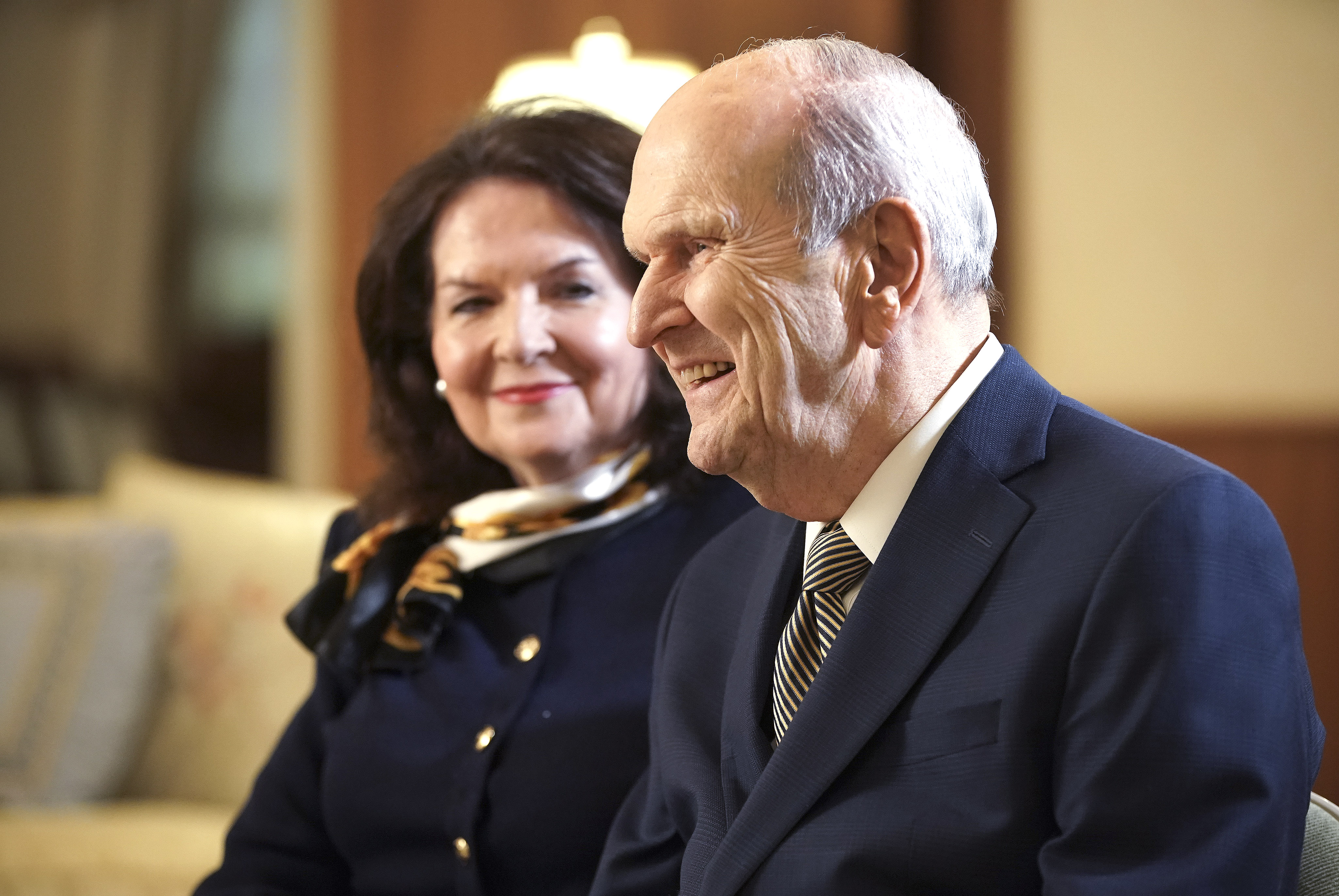 President Russell M. Nelson, of The Church of Jesus Christ of Latter-day Saints, and his wife Sister Wendy Nelson during an interview in Salt Lake City on Friday May 29, 2020.