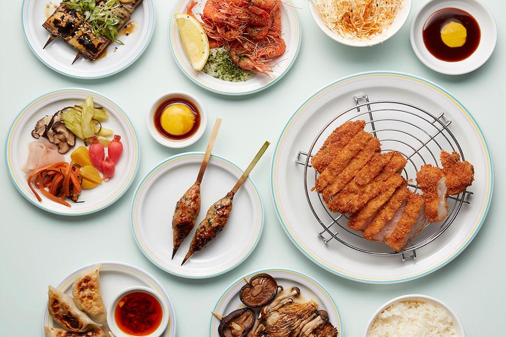 Dalston Japanese yakitori restaurant Jidori's spread of dishes