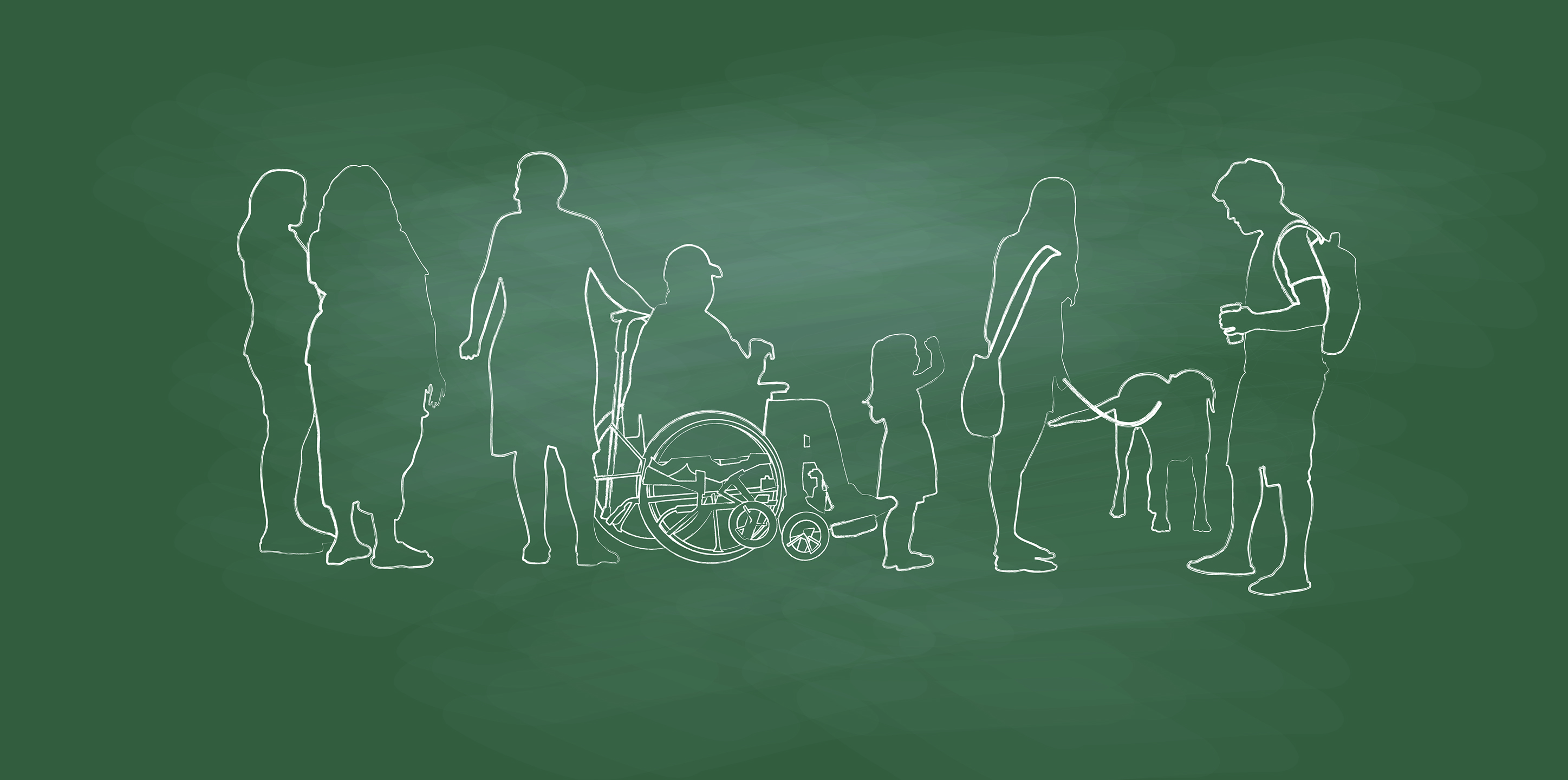 A chalk board with silhouettes of differently abled students.