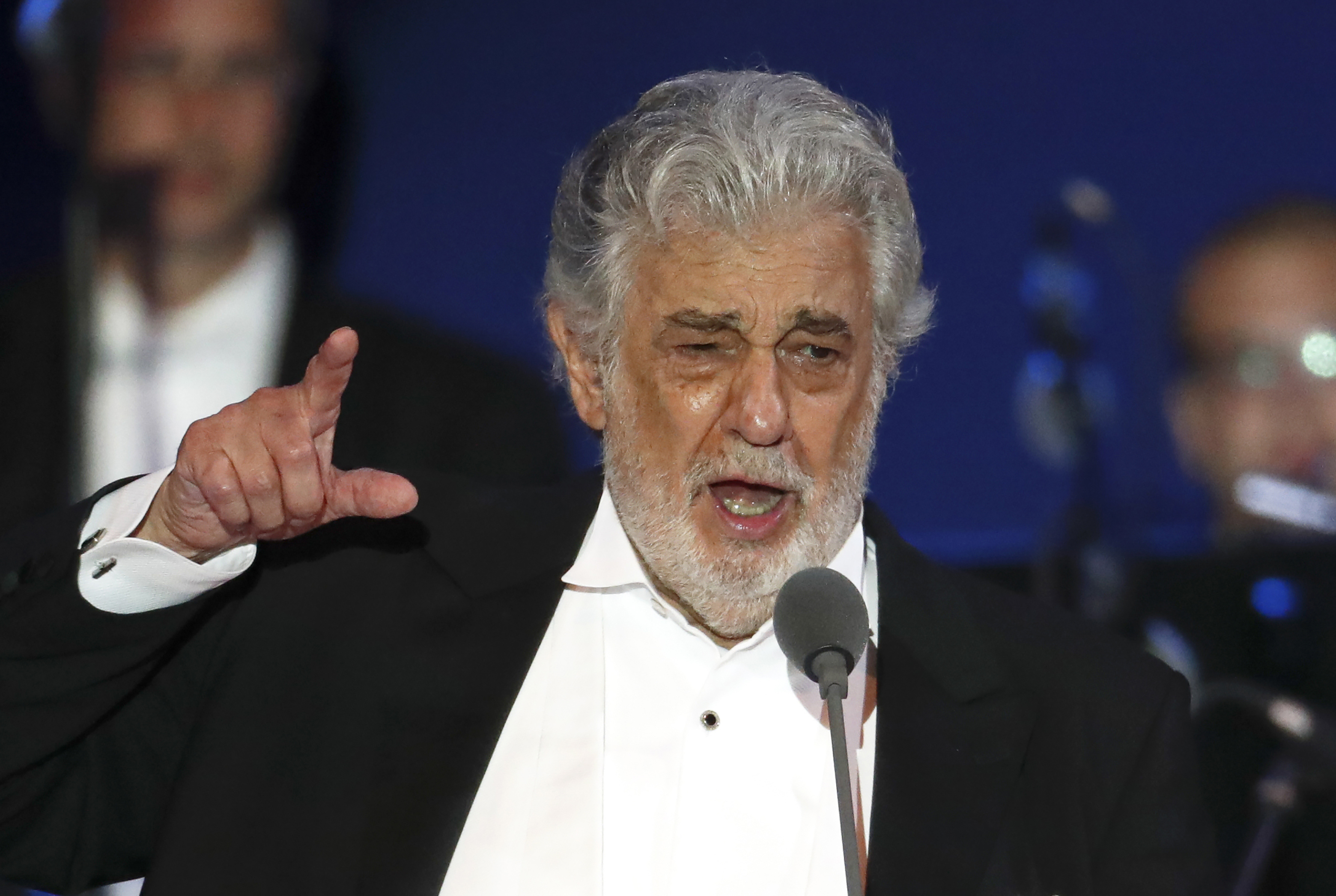 In this Aug. 28, 2019 photo, opera singer Placido Domingo performs during a concert in Szeged, Hungary. Domingo will make his first public appearance since recovering from coronavirus to accept a lifetime achievement award on Aug. 6 in Salzburg, Austria.