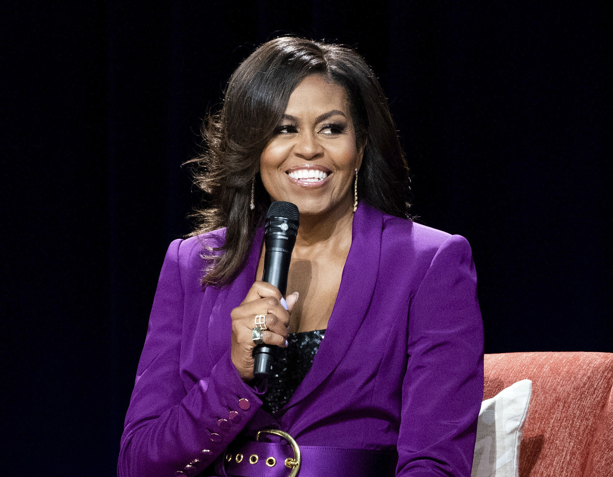 "Former first lady Michelle Obama speaks during ""Becoming: An Intimate Conversation with Michelle Obama,"" in Atlanta."