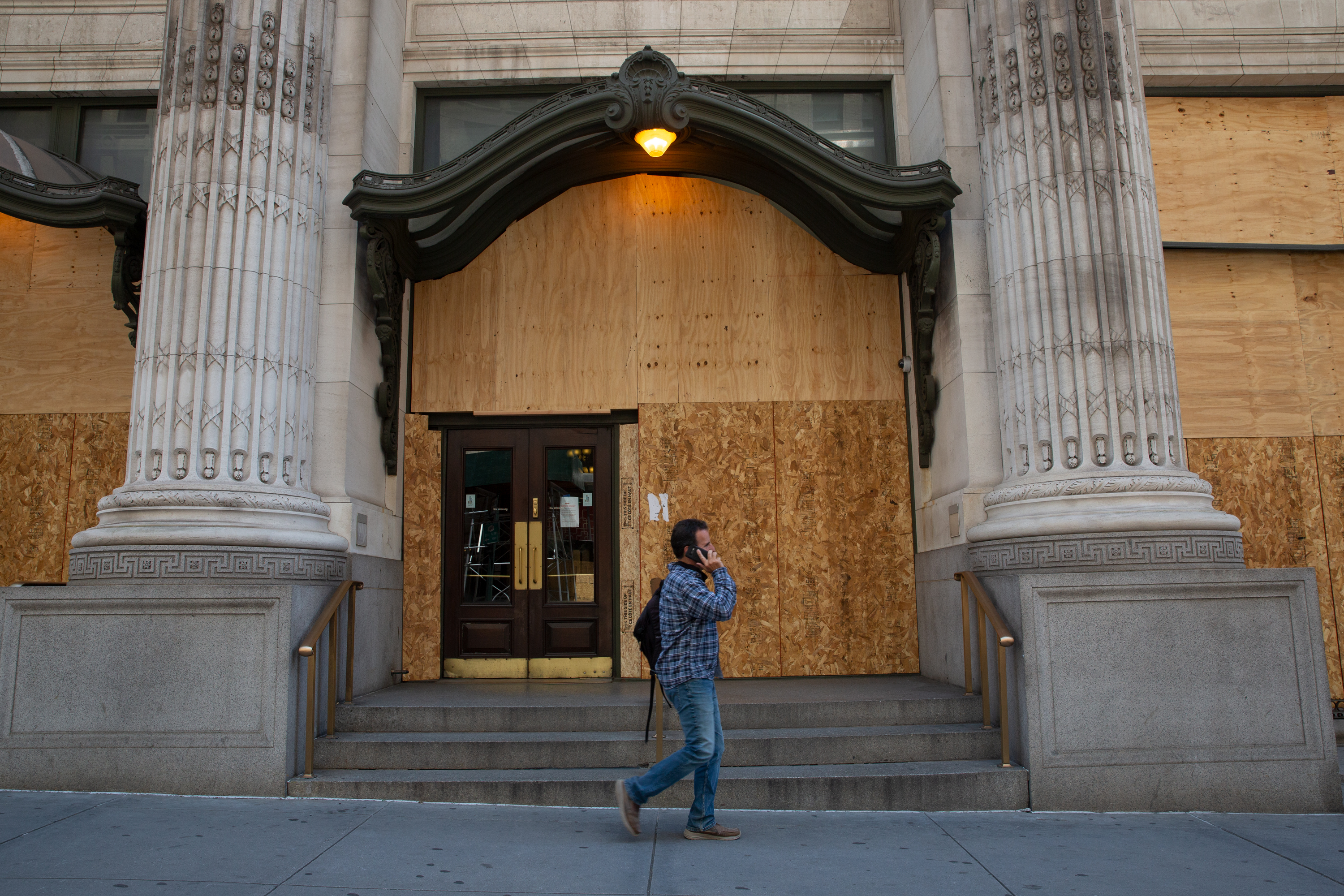 The CUNY Graduate Center in Midtown was boarded up during the coronavirus outbreak, June 25, 2020.