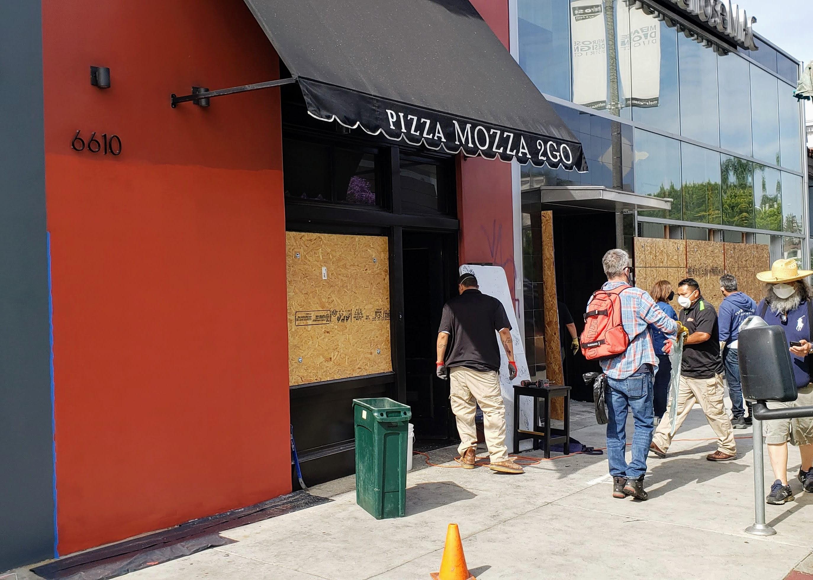 A burned facade for Los Angeles restaurant Mozza 2 Go