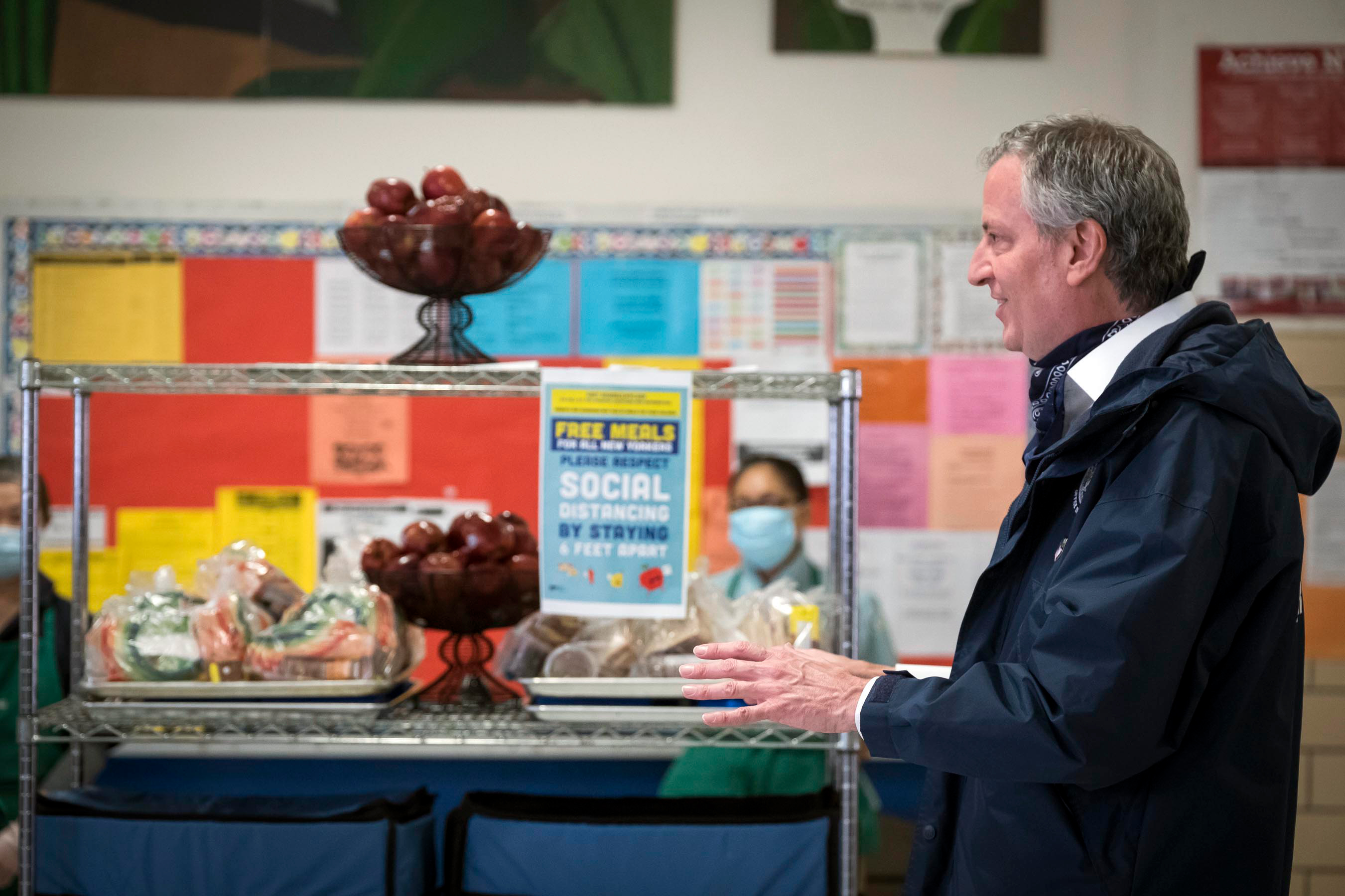 Mayor Bill de Blasio visits a free food program at PS 1 in Manhattan, April 7, 2020.