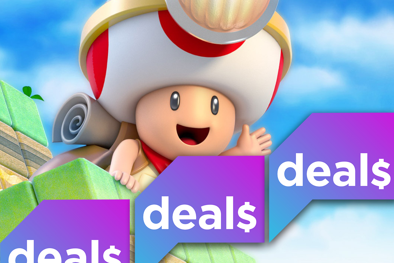The Polygon Deals logo over a screenshot of Captain Toad waving