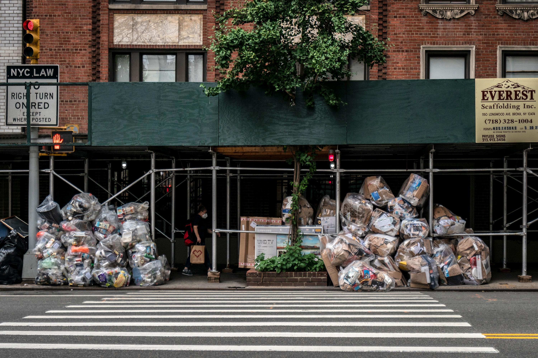 Piles of trash near Hudson Yards in Manhattan, Aug. 7, 2020.