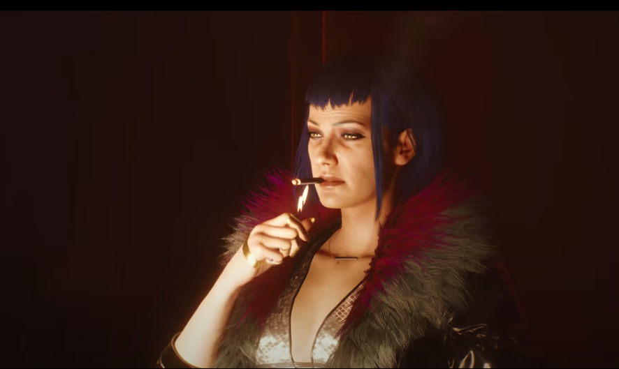 still frame of a futuristic woman lighting a cigarette nonchalantly