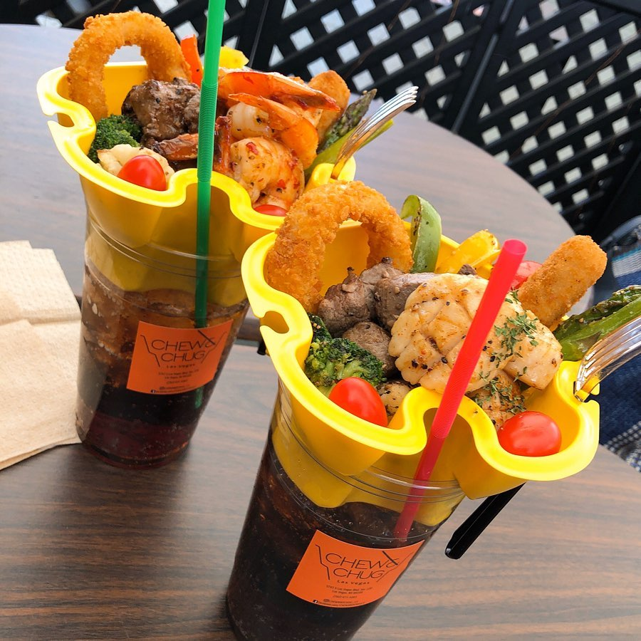 The all-in-one dine and drink containers served at Chew & Chug in the Venetian.