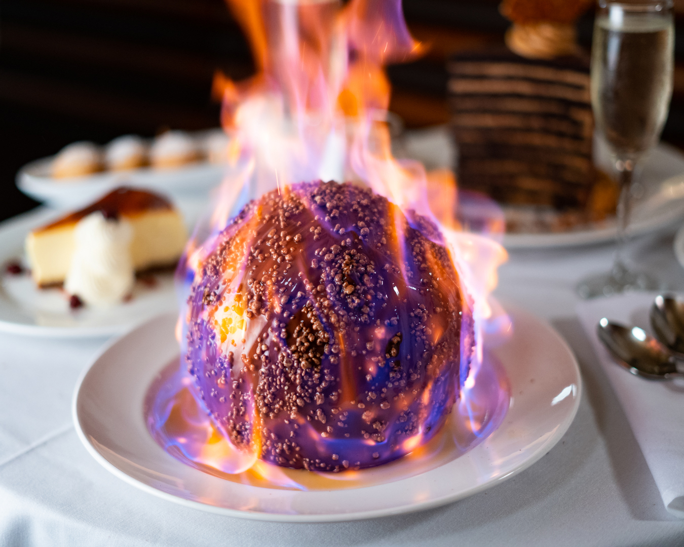 A chocolate sphere set on fire