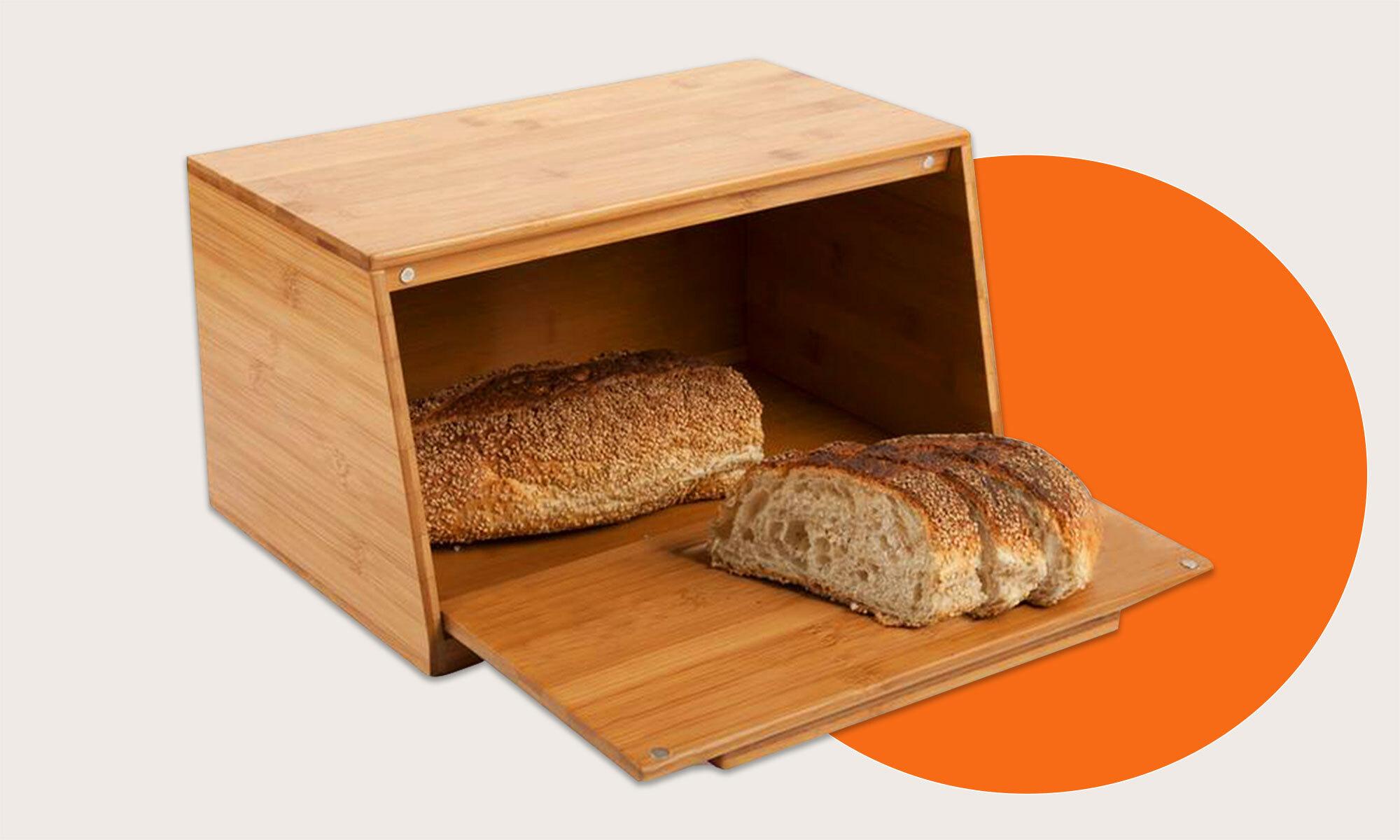 A bamboo bread box