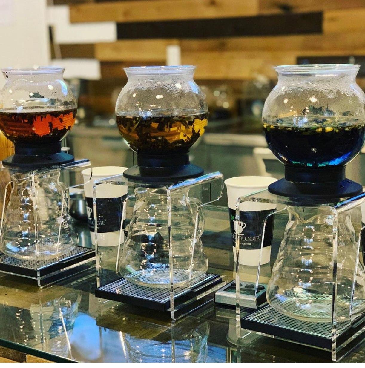 Tea brewing in spherical canters at Steepologie