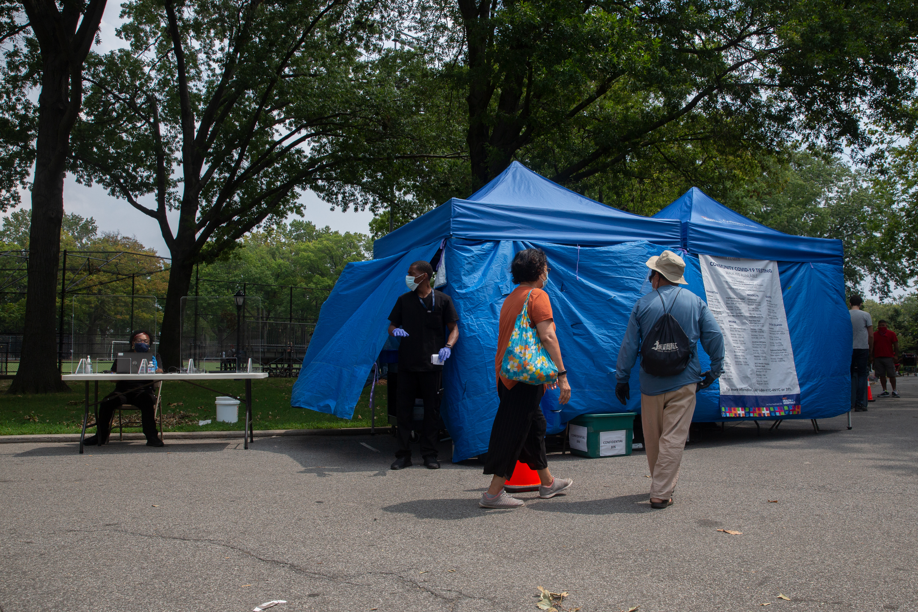 The city set up a free coronavirus testing site in Sunset Park, Brooklyn, Aug. 12, 2020.
