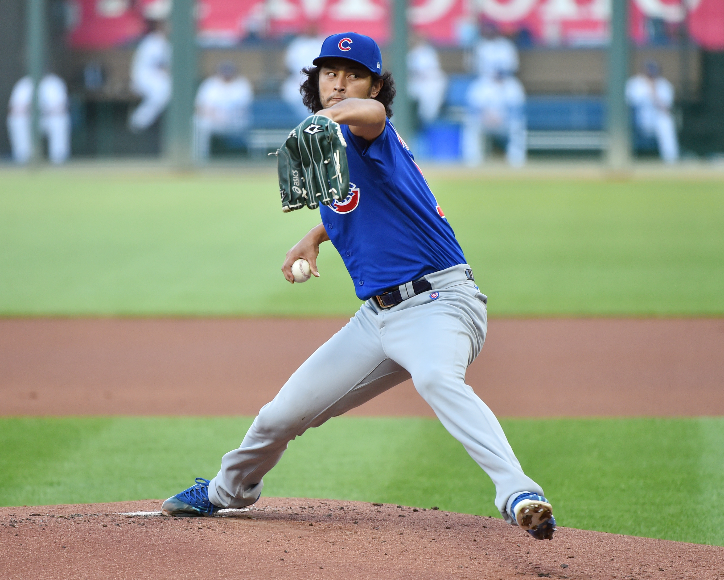 Starting pitcher Yu Darvish #11 of the Chicago Cubs throws in the first inning against the Kansas City Royals at Kauffman Stadium on August 05, 2020 in Kansas City, Missouri.