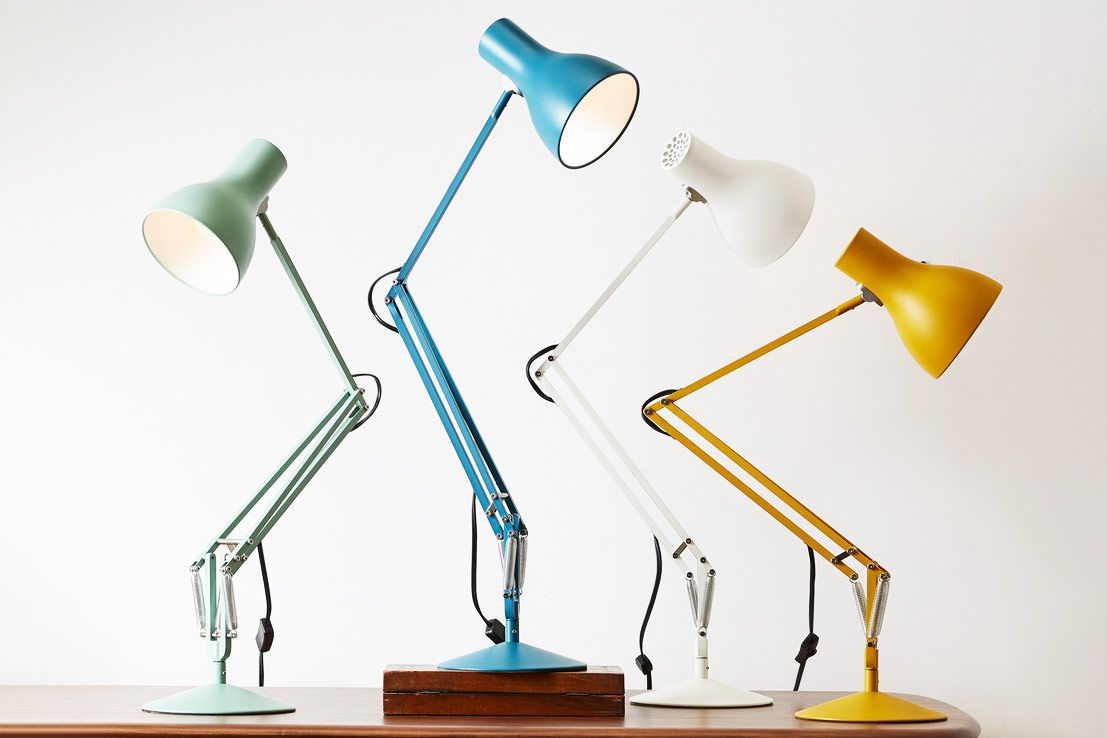 Four lamps with bent arms.