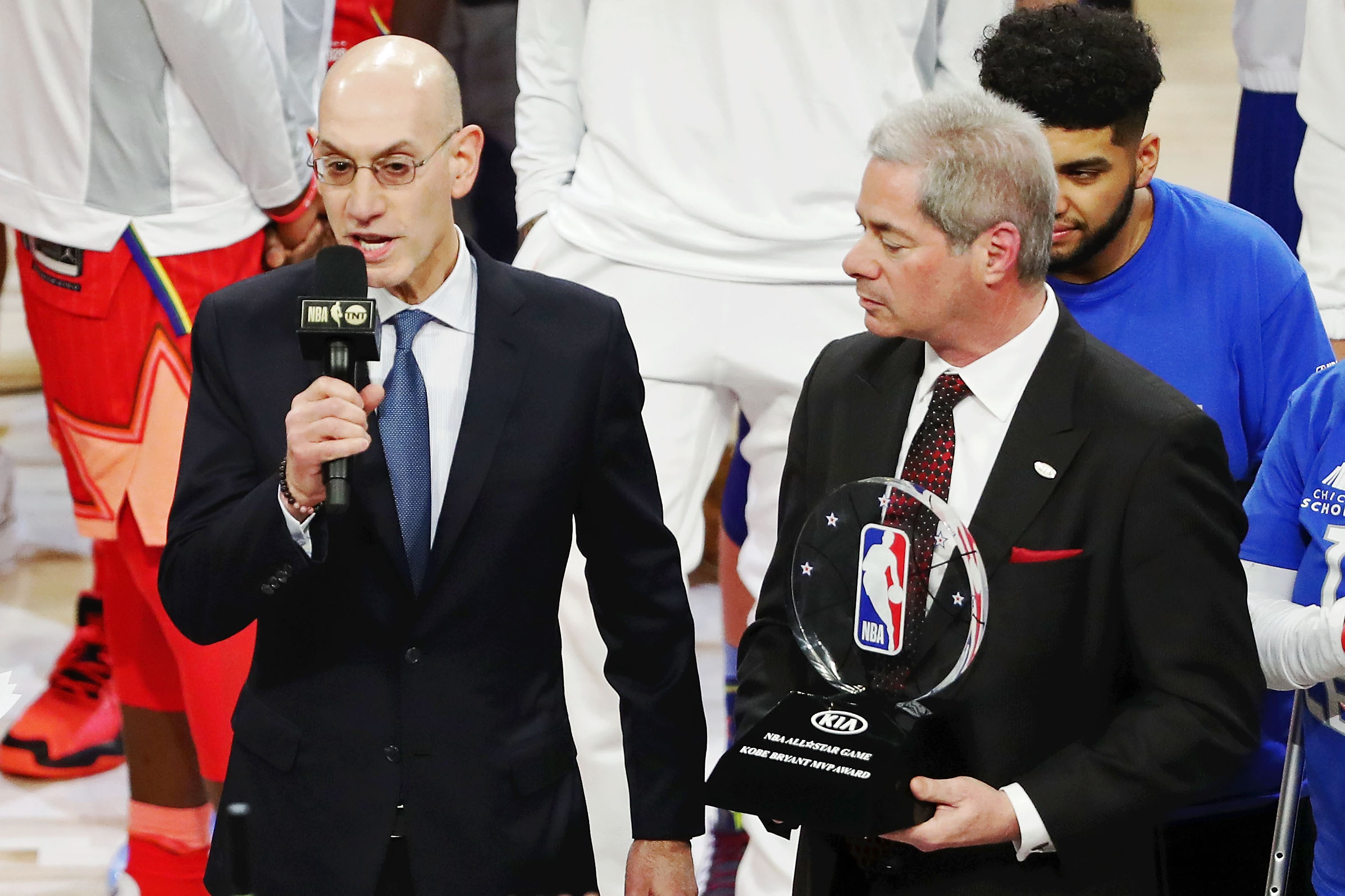 NBA commissioner Adam Silver announces the winner of the Kobe Bryant MVP award as Team LeBron forward Kawhi Leonard of the LA Clippers after the 2020 NBA All Star Game at United Center.