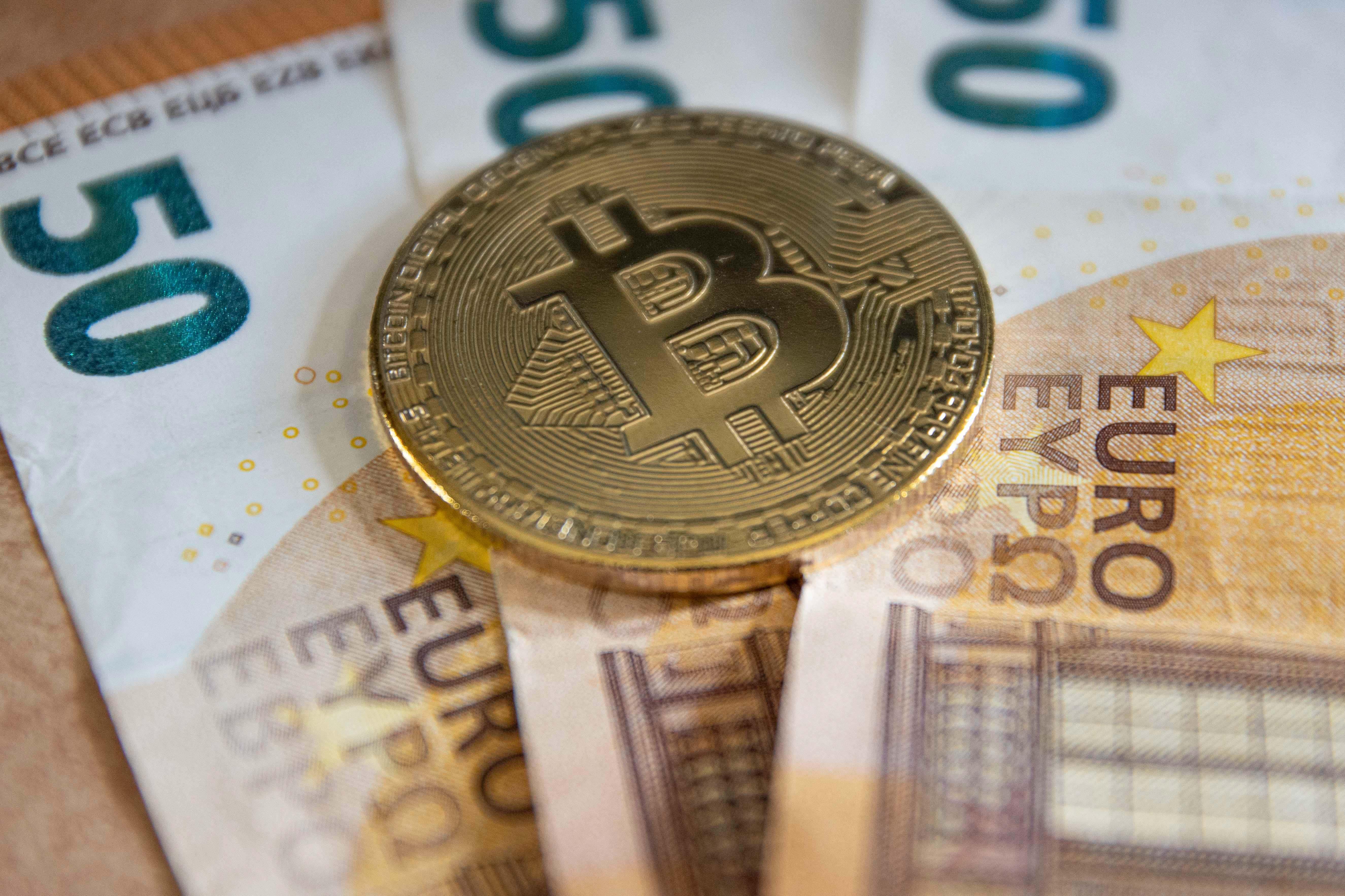 Bitcoin Illustration On Euro Banknotes