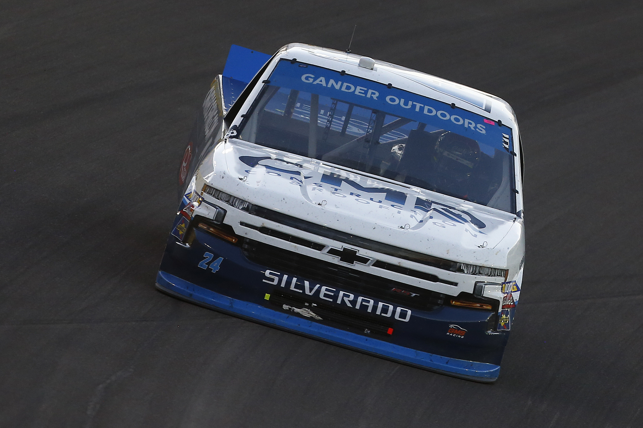 Brett Moffitt, driver of the CMR Construction & Roofing Chevrolet, races during the NASCAR Gander Outdoor Truck Series World of Westgate Las Vegas 200 at Las Vegas Motor Speedway on September 13, 2019 in Las Vegas, Nevada.
