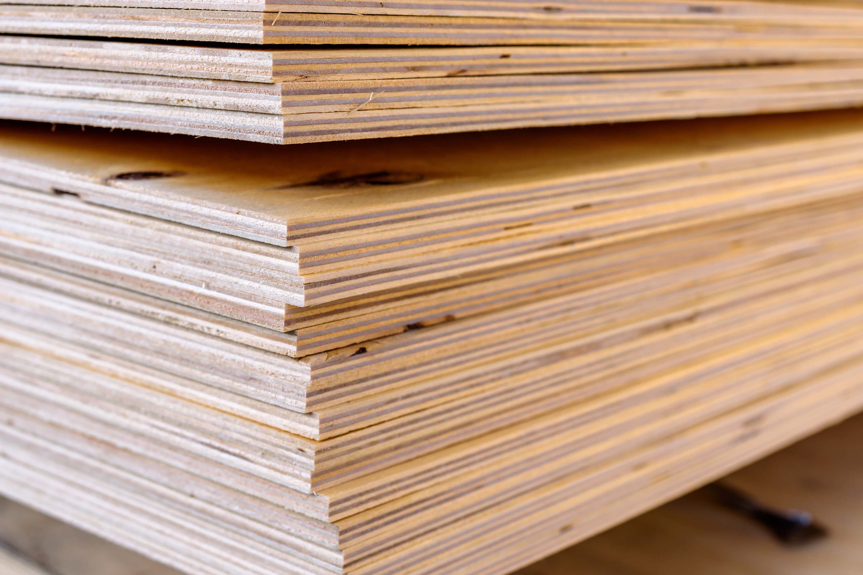 Stack of plywood.