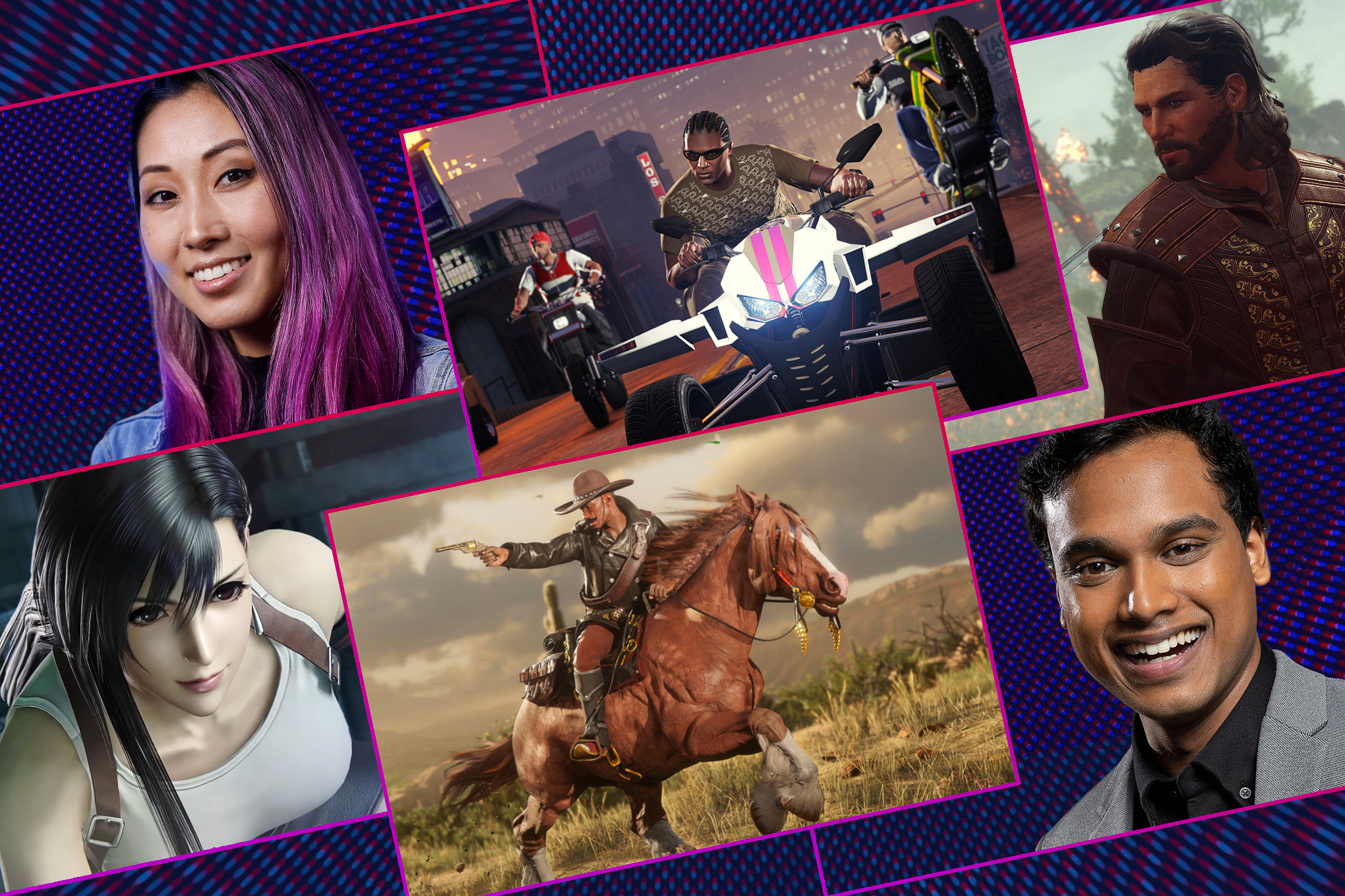 "Graphic grid featuring images from four different video games and portraits of the two host of Polygon's Quibi show ""Speedrun"""