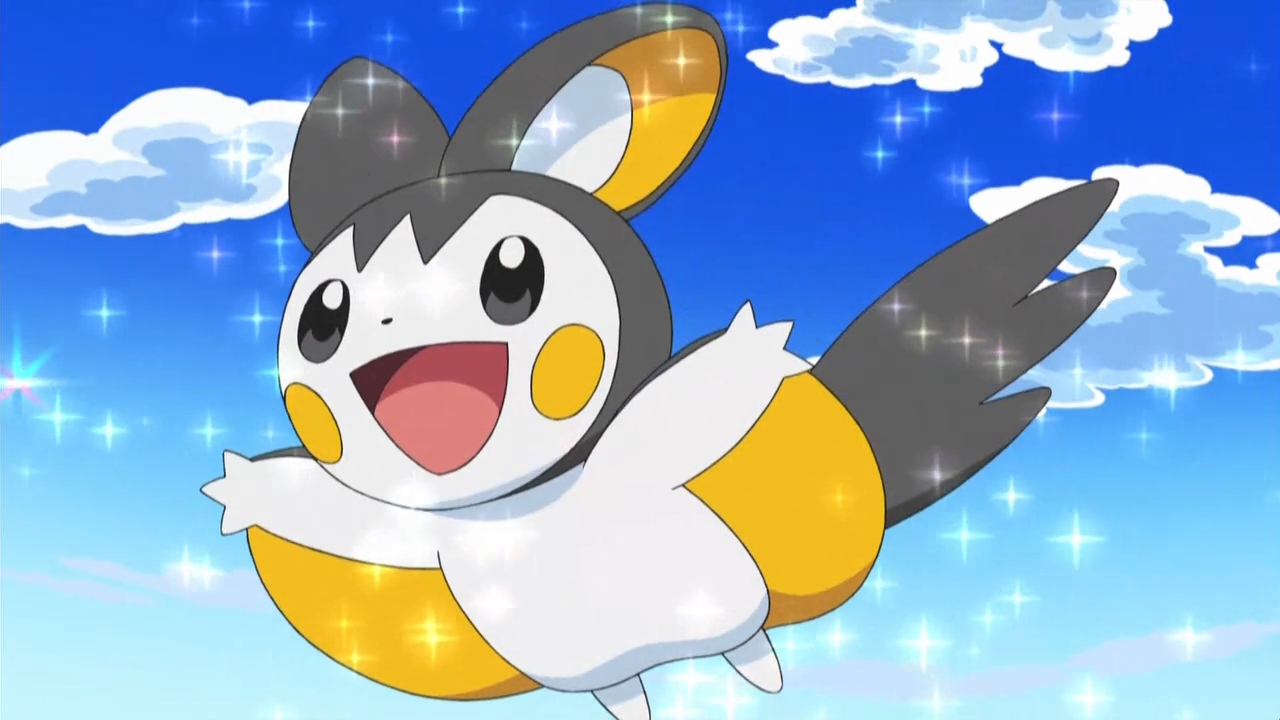 Emolga, a flying squirrel-like Pokémon, flies in the air with sparkles around it