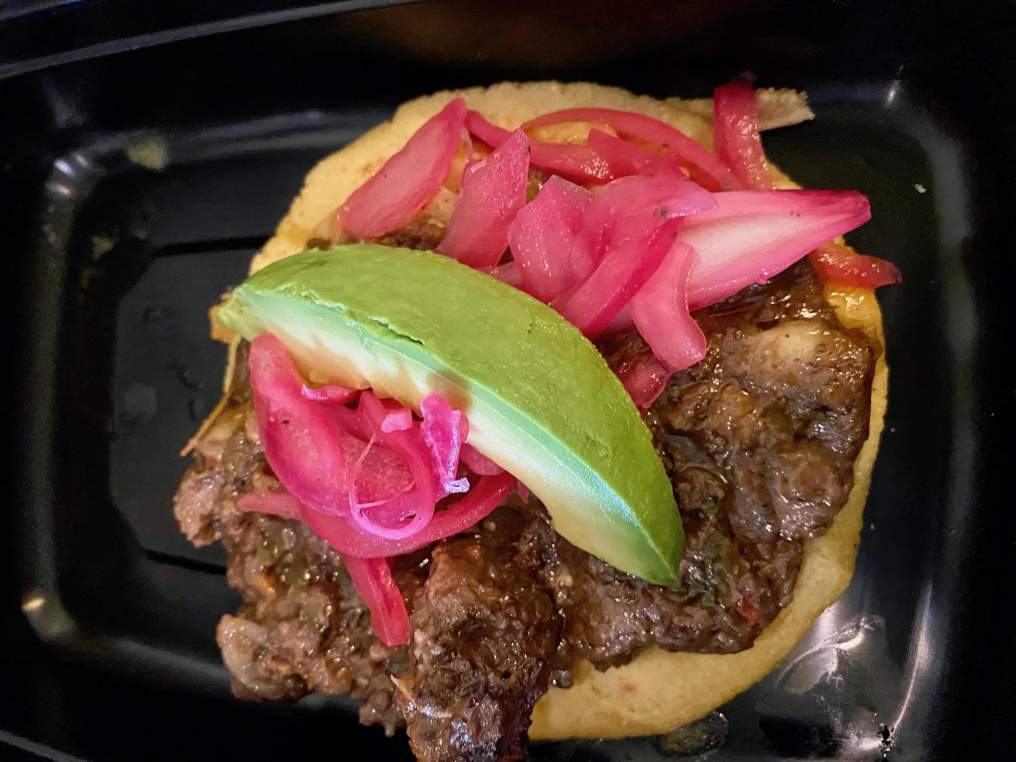 Moronga (blood sausage) taco at Los Guisados Del Patrón