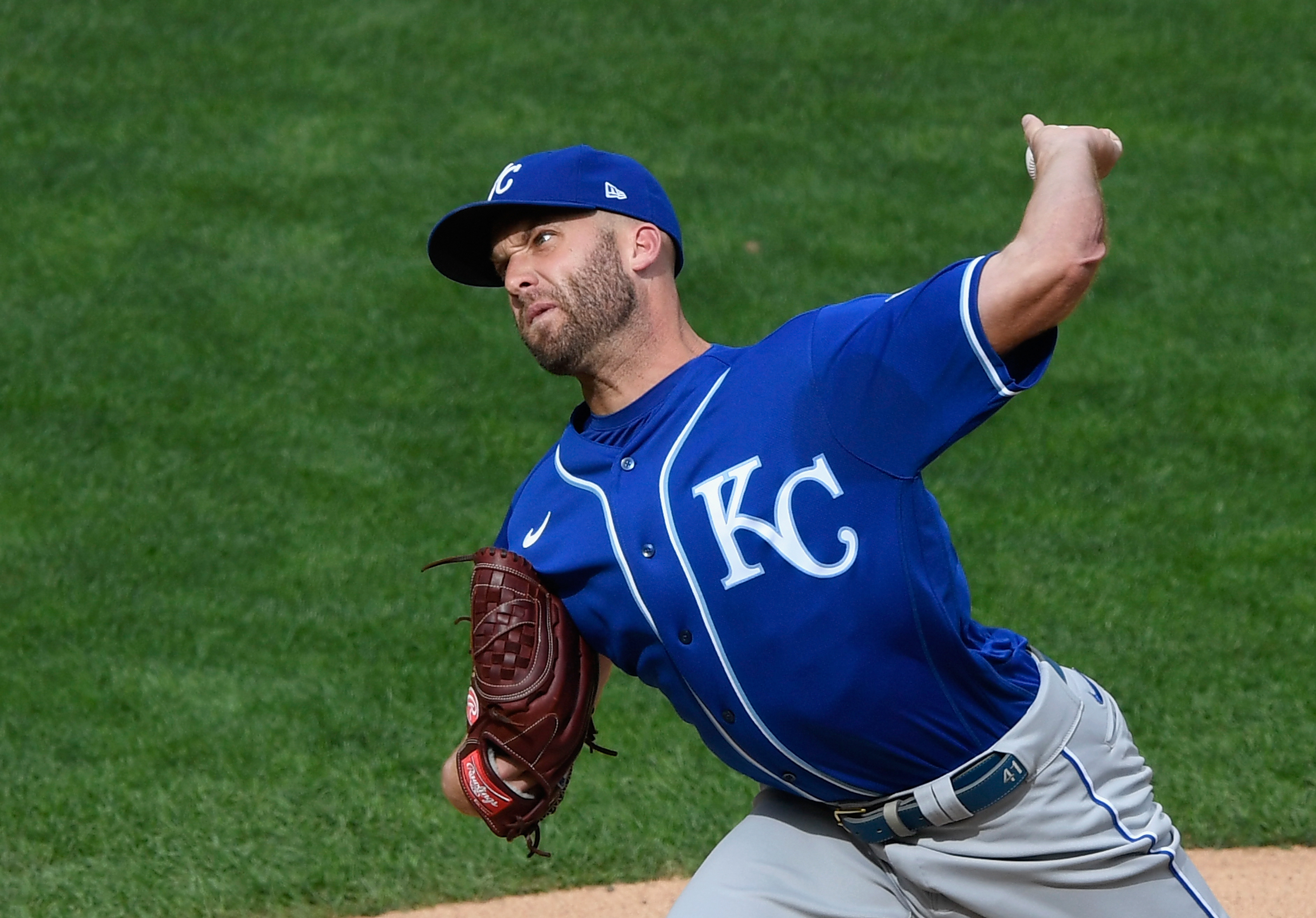 Danny Duffy throwing a pitch