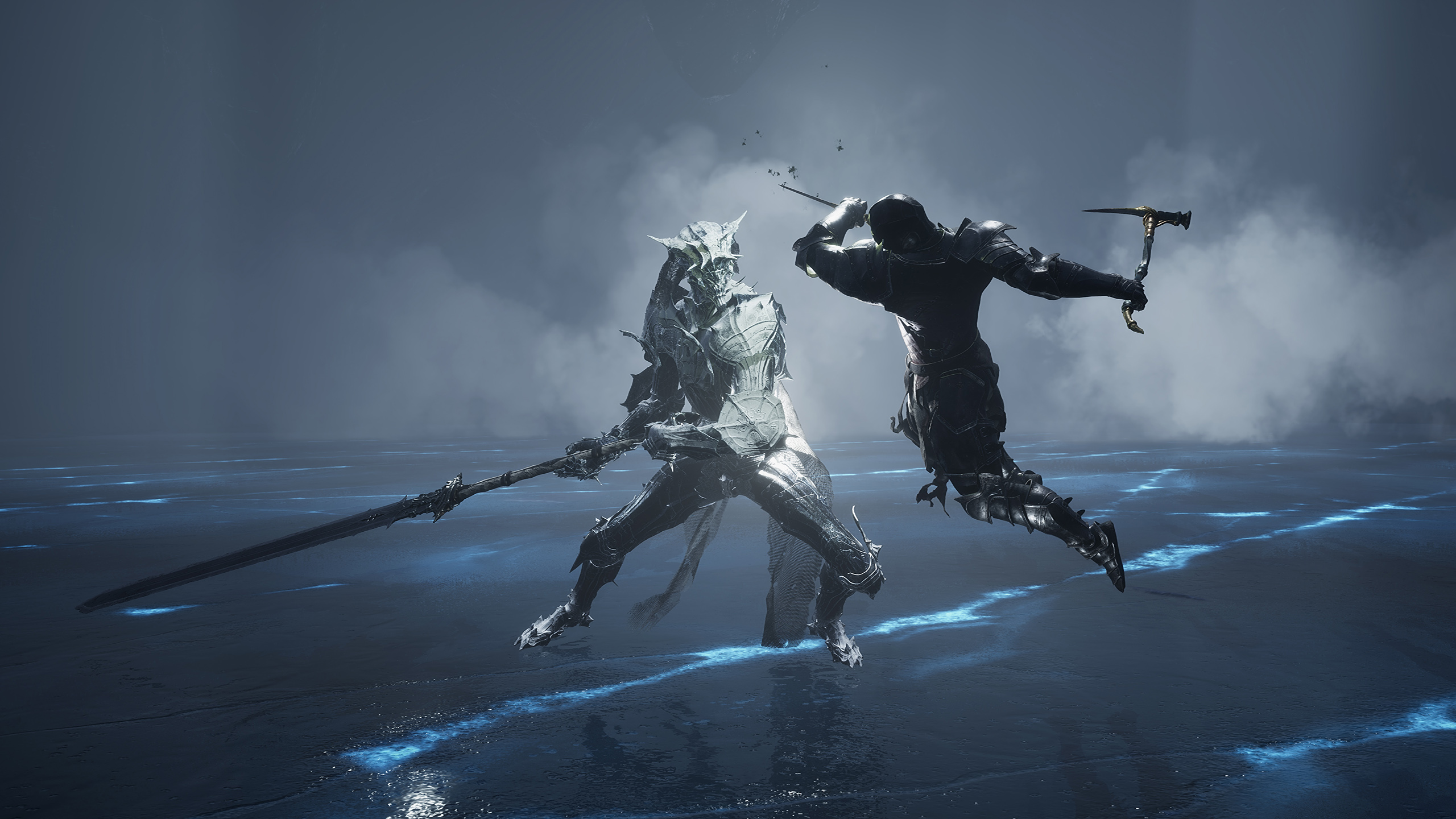 A warrior takes a running jump at an enemy with a huge sword