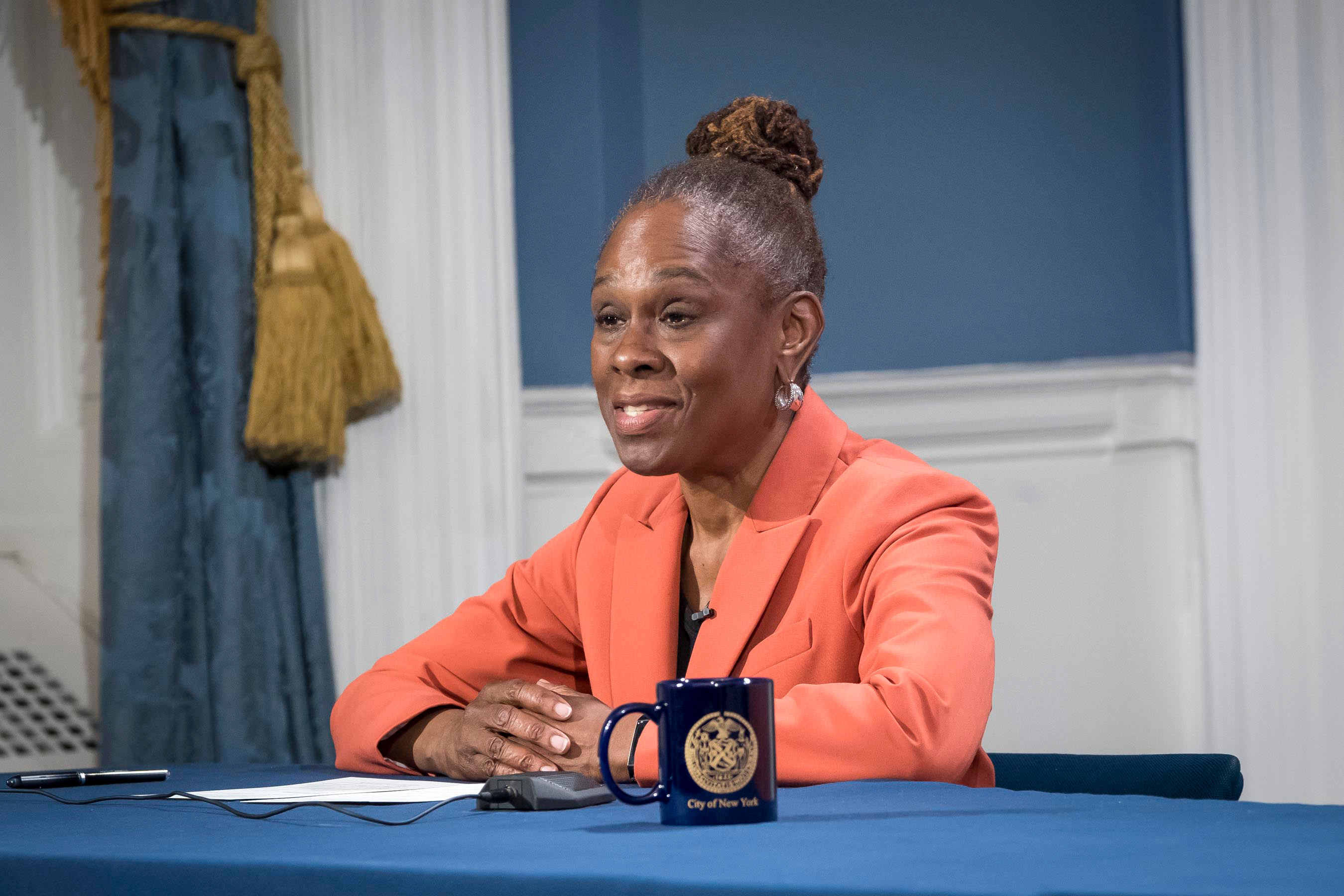 First Lady Chirlane McCray announces a program between the city and Department of Defense providing mental health programs for health care workers, April 29, 2020.