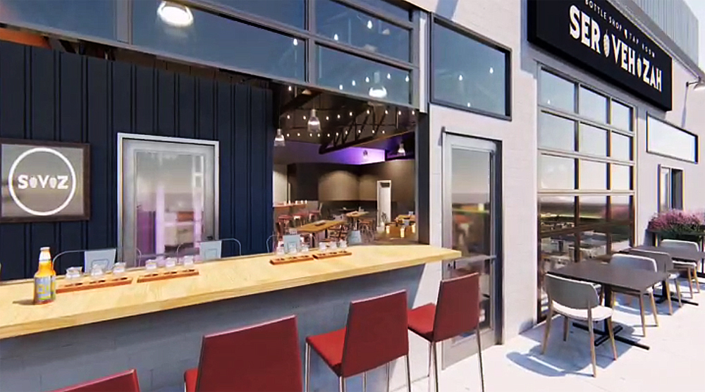 A rendering of teh outdoor patio at Servehzah Bottle Shop and Tap Room, coming to the Arts District.