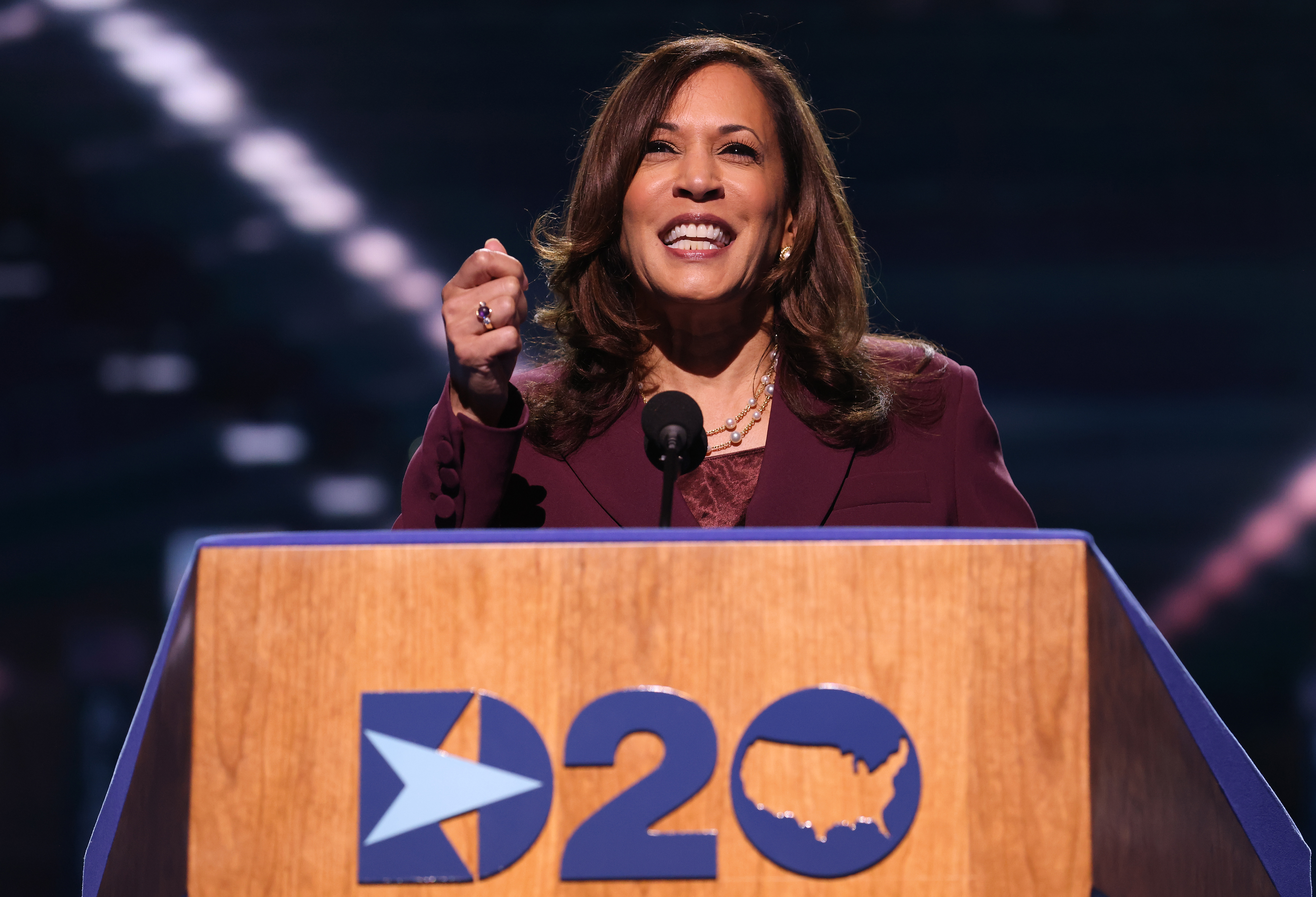 Democratic vice presidential nominee Senator Kamala Harris speaks from behind a podium on the third night of the Democratic National Convention in Wilmington, Delaware.
