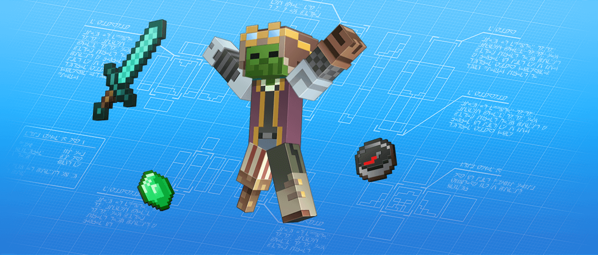 A Minecraft character with several add-on features, like a pirate peg-leg