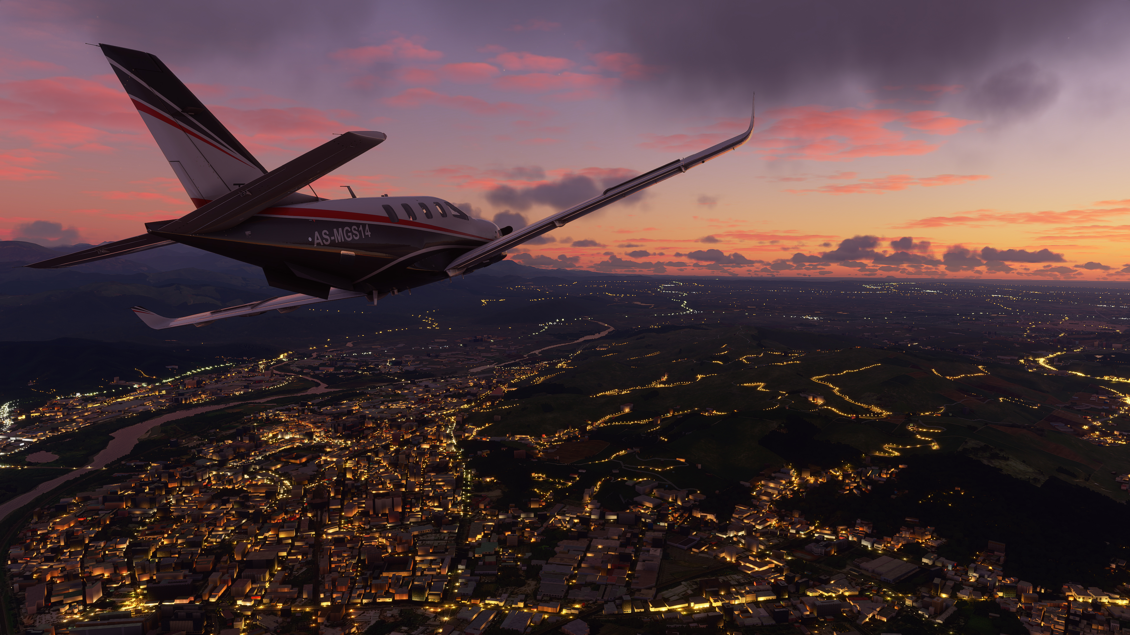 A turboprop plane floating over a night scene, with realistic light temperatures over roads and bridges below, in Microsoft Flight Simulator