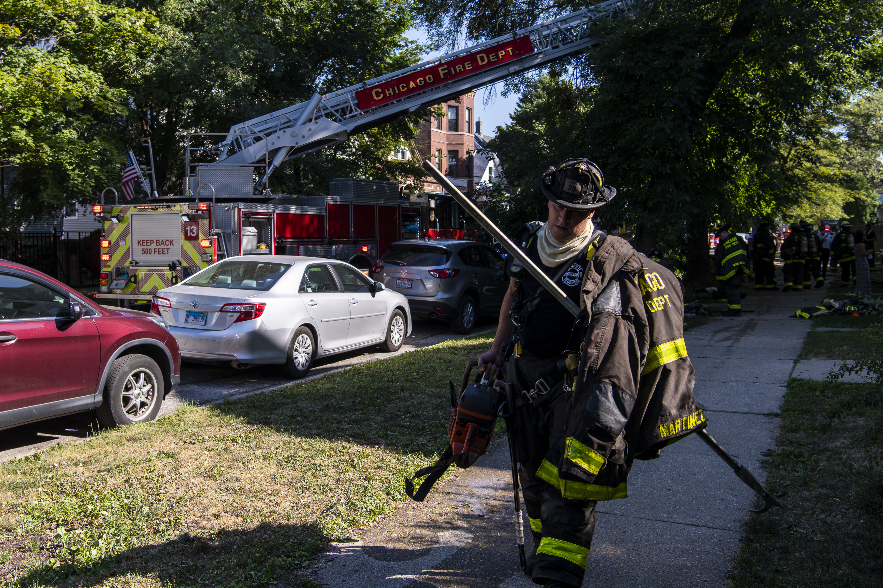 Chicago firefighters respond to a blaze at a home in the 3300 block of North Albany in the Avondale neighborhood, Thursday, Aug. 20, 2020. | Tyler LaRiviere/Sun-Times