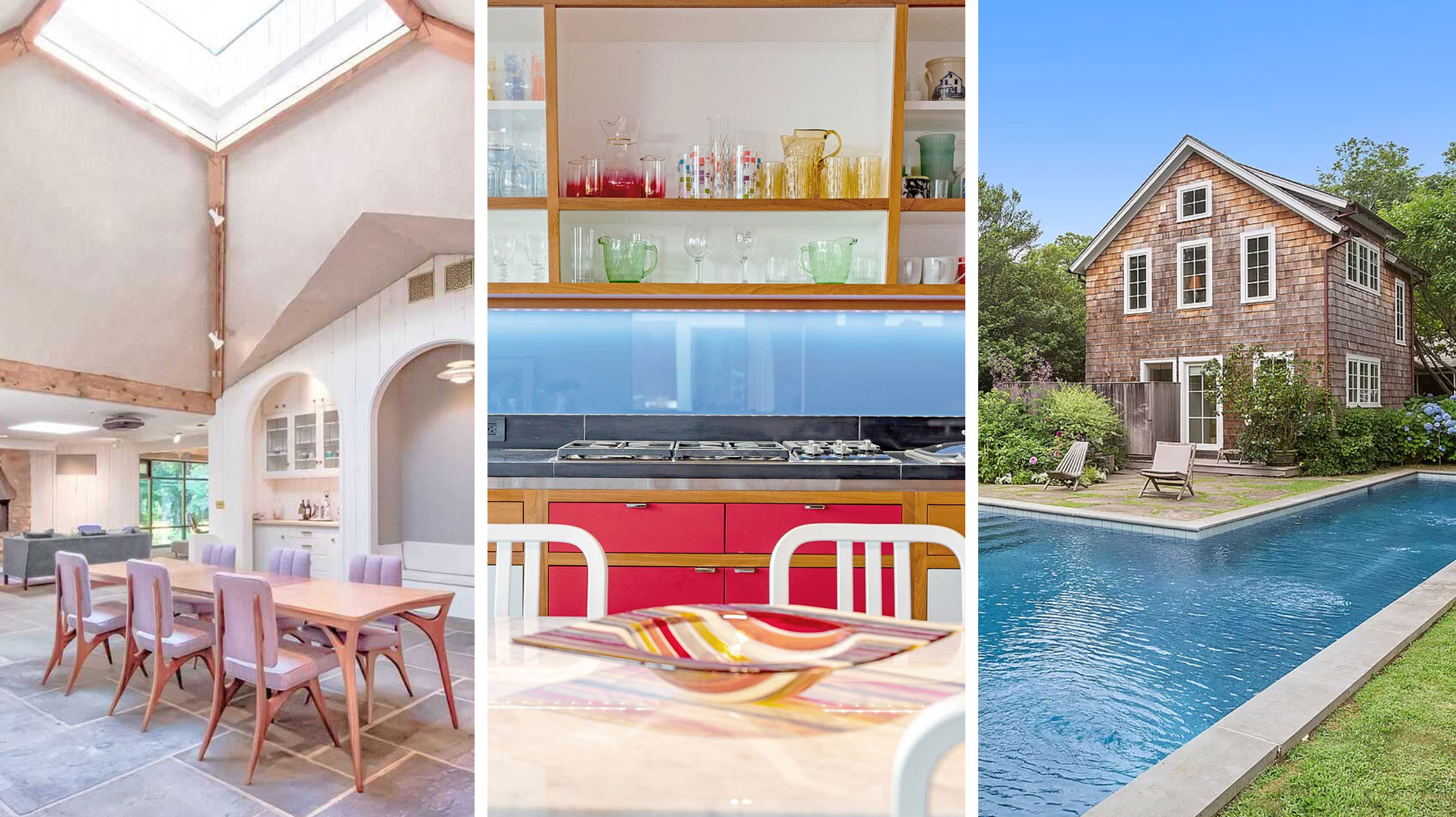 Three-panel collage of a bright room, dining table, and shingle house with pool.