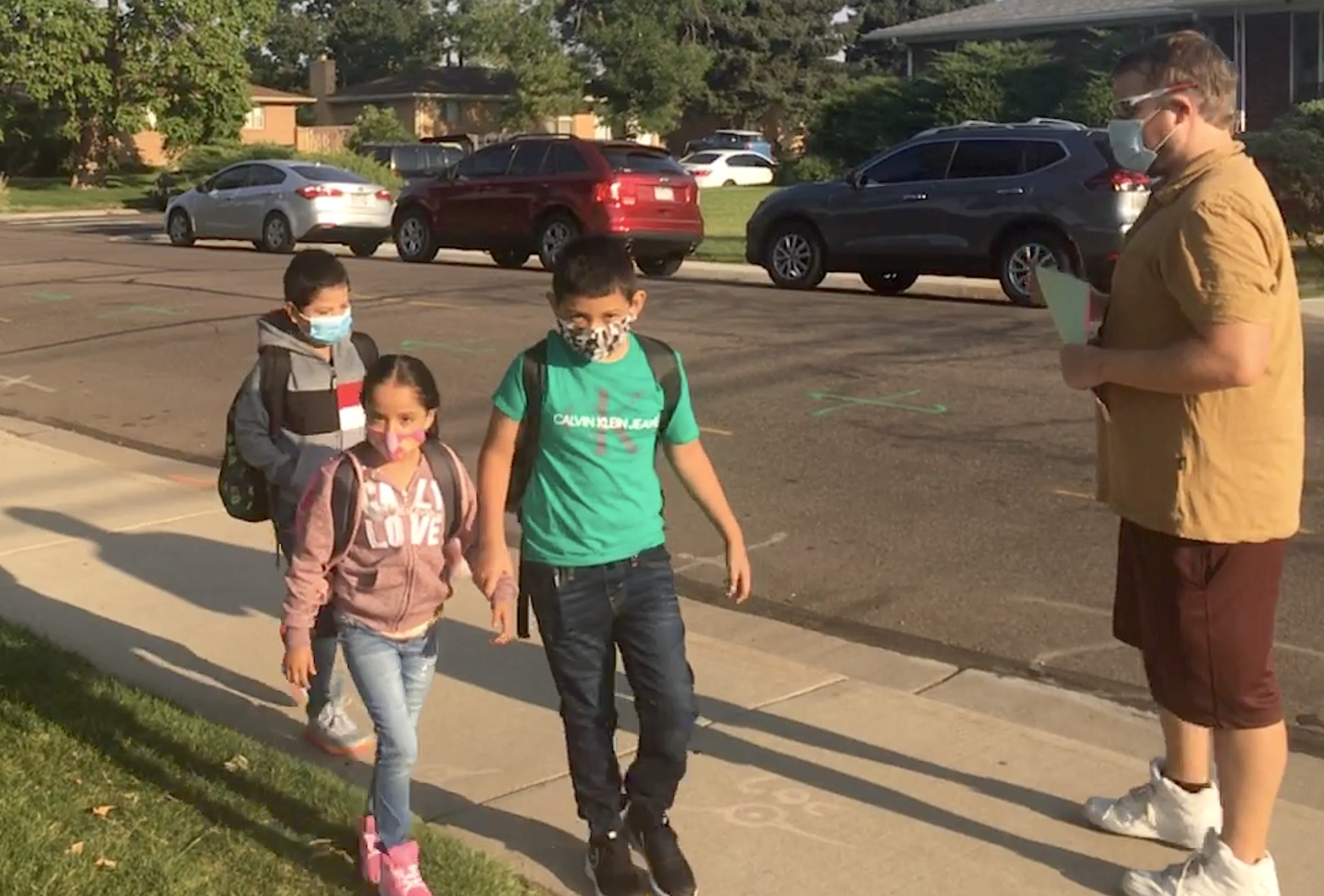Students arrive at Skyline Vista Elementary in the Westminster district on the first day of school on August 20, 2020.