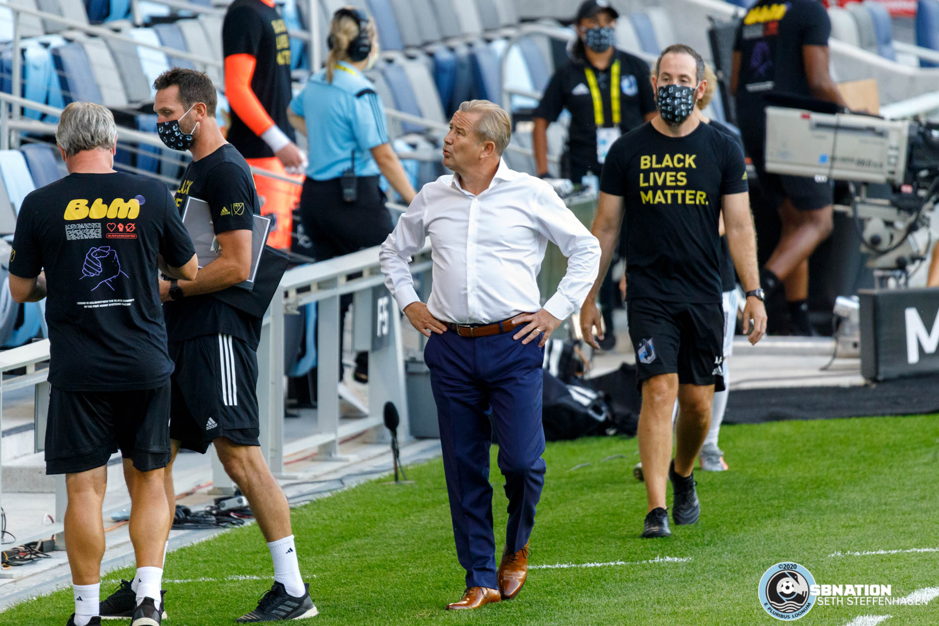 August 21, 2020 - Saint Paul, Minnesota, United States - Minnesota United head coach Adrian Heath walks out from the tunnel prior to the Minnesota United vs Sporting KC match at Allianz Field.
