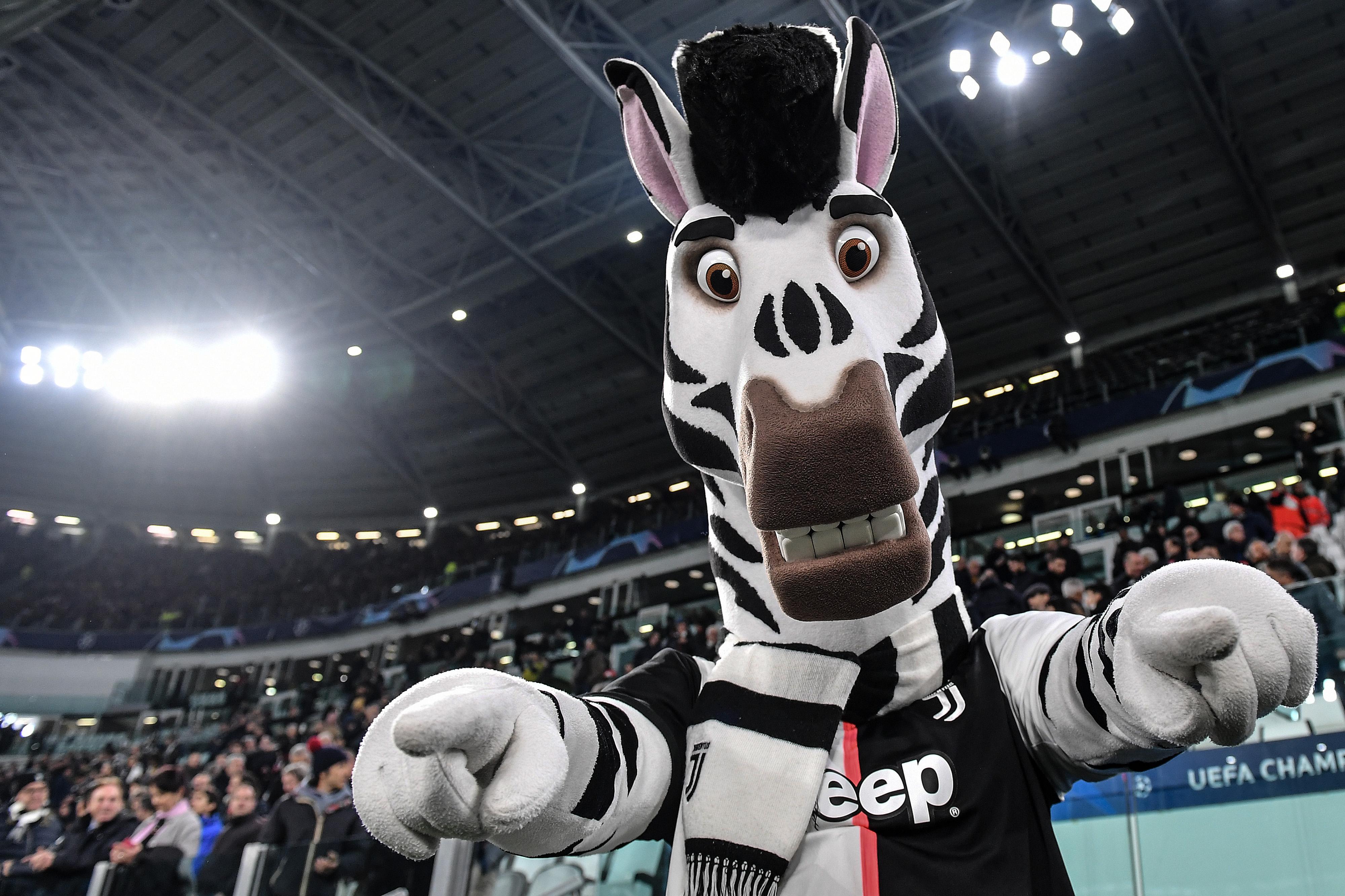 Juventus mascot, the zebra 'Jay', gestures ahead the...