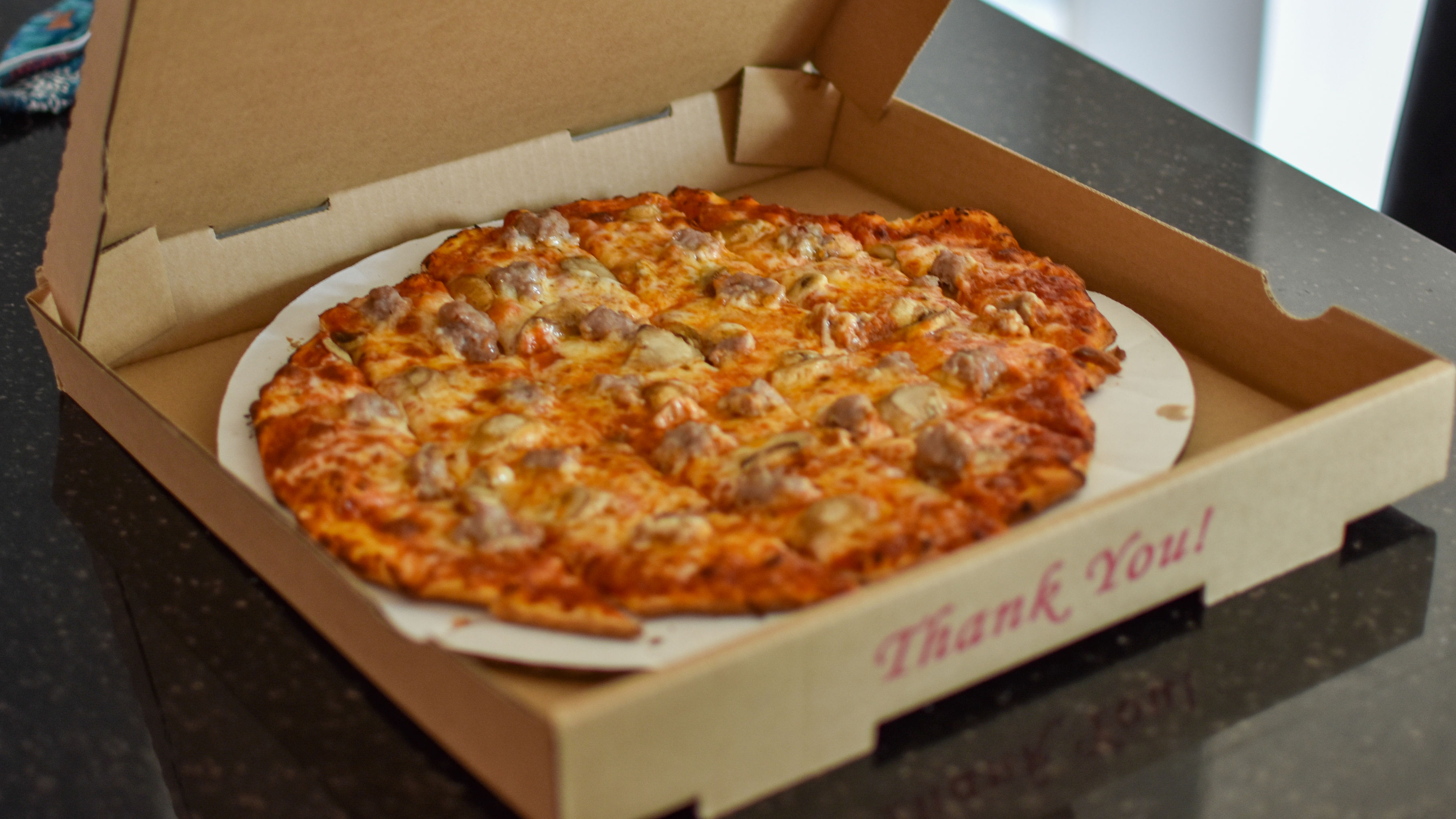 A pizza box filled with ambrosia.