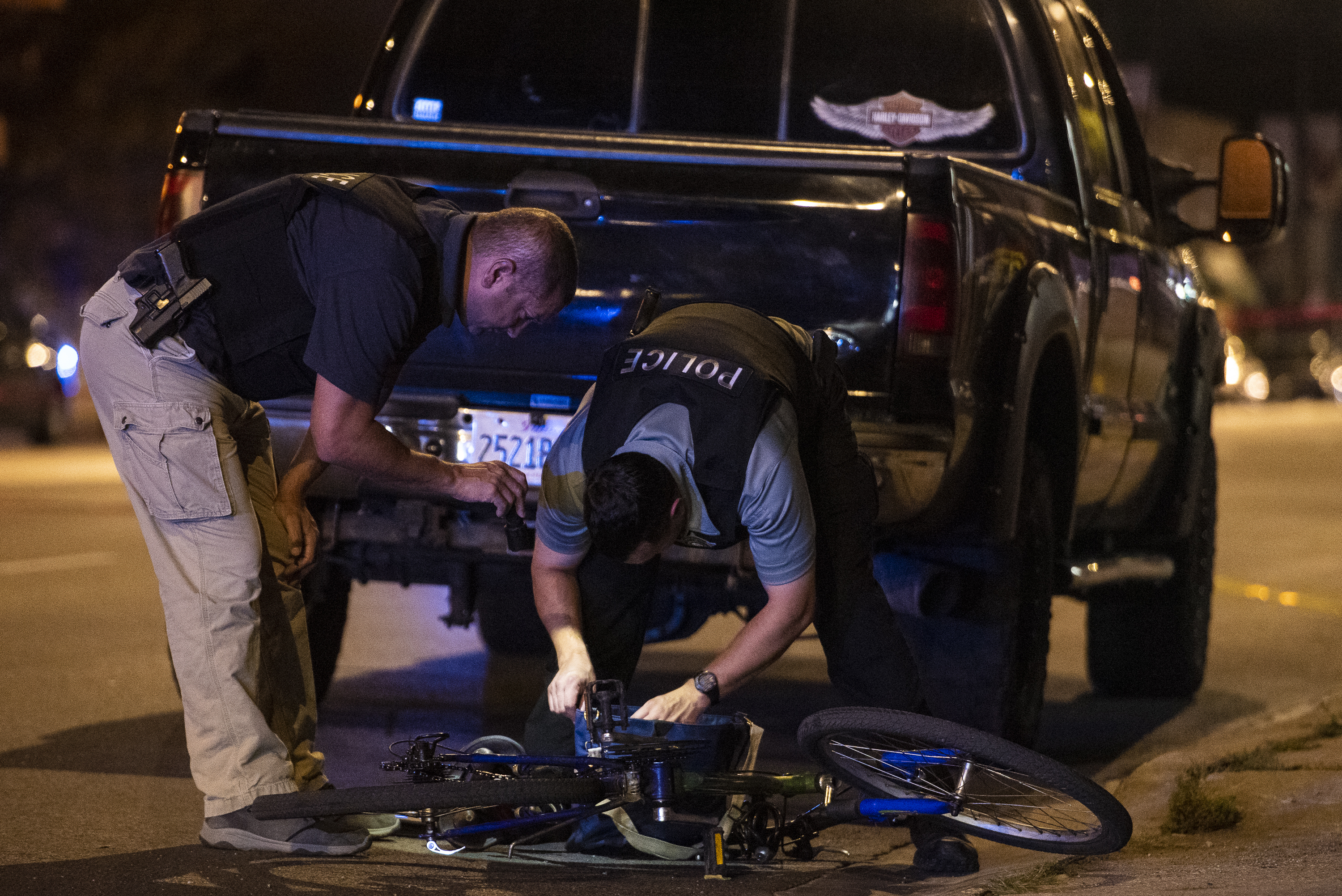 Chicago police investigate the scene of a fatal traffic crash August 21, 2020, in Archer Heights.