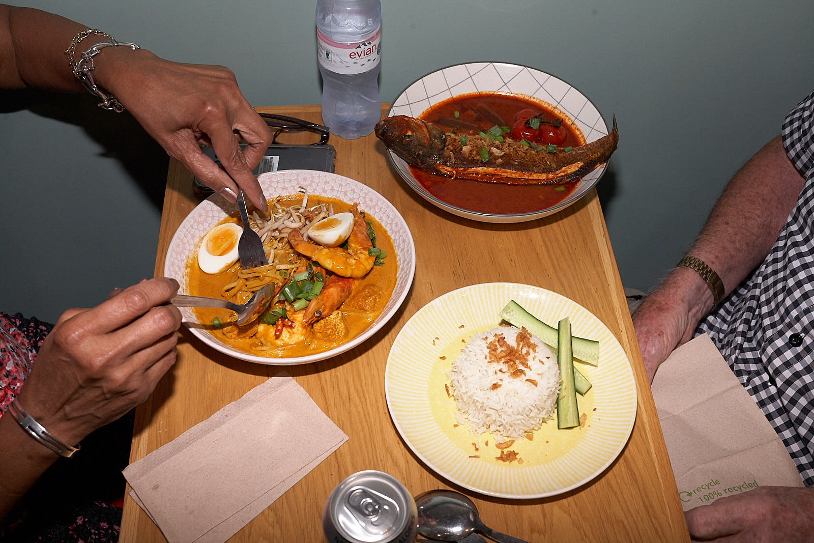 A selection of dishes at Normah's Cafe in Queensway Market, Bayswater —one of London's best-value restaurants is struggling to recover after the coronavirus pandemic forced its closure in March 2020. It reopened in August 2020.
