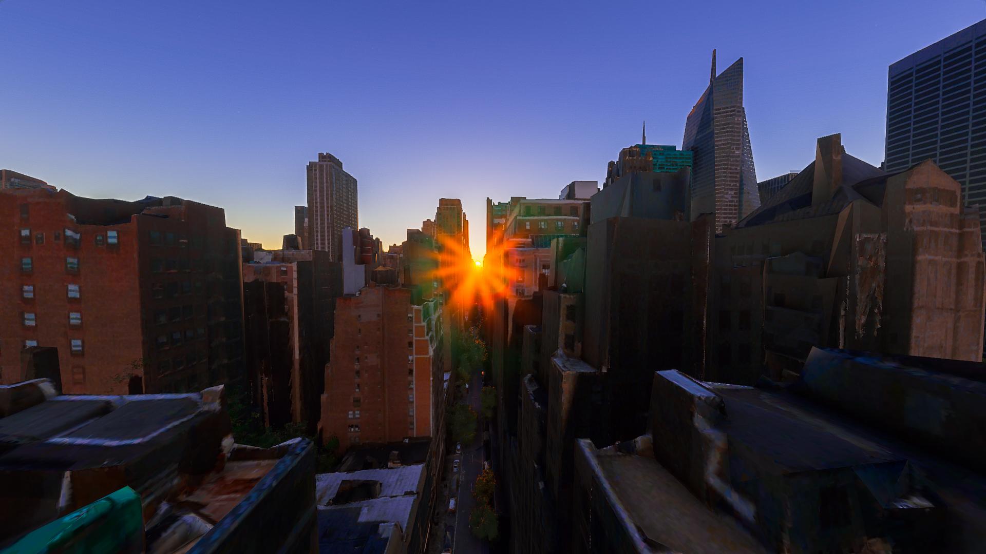 Manhattanhenge recreated in Microsoft Flight Simulator